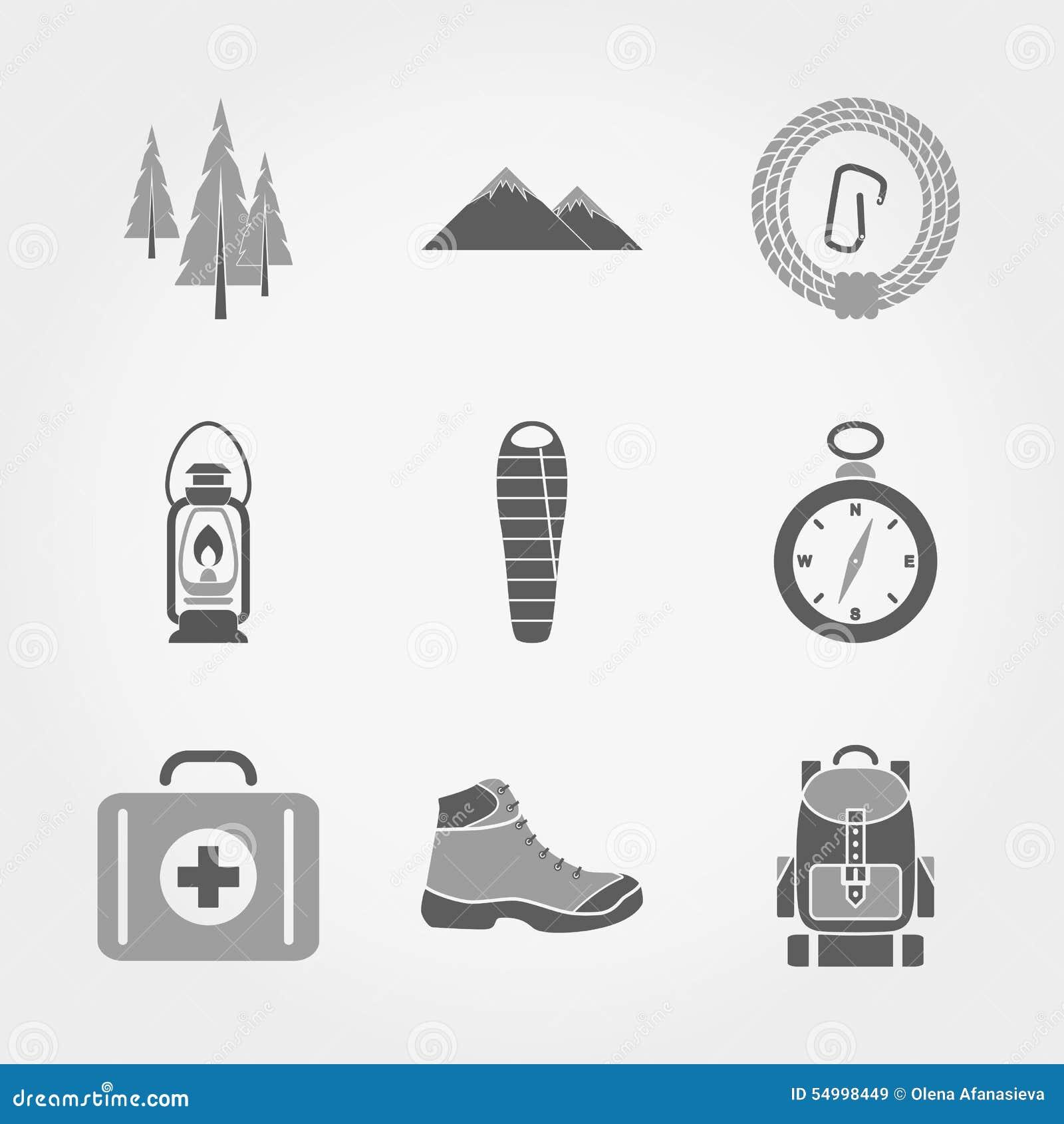 Комплект значков горы располагаясь лагерем
