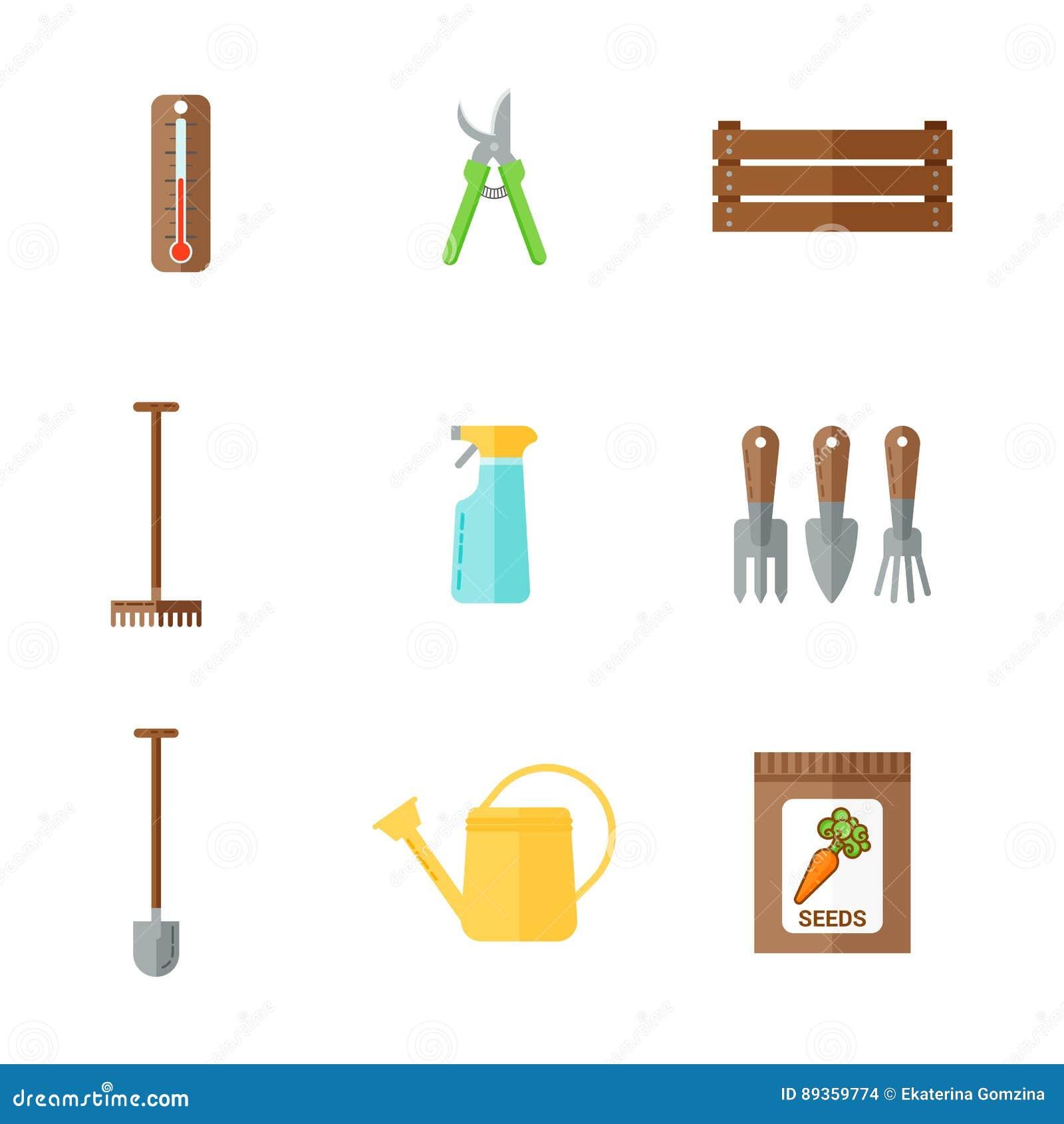 Комплект значков цвета плоских садовых инструментов Моча чонсервная банка, термометр, пакет с семенами, prunen, копает, грабли