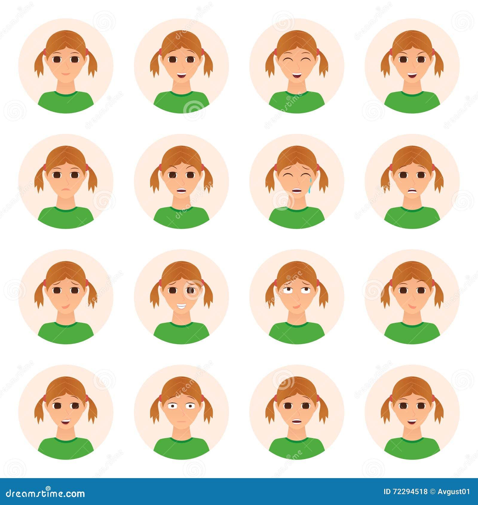 Download Комплект значков эмоций девушки Иллюстрация вектора - иллюстрации насчитывающей бобра, собрание: 72294518