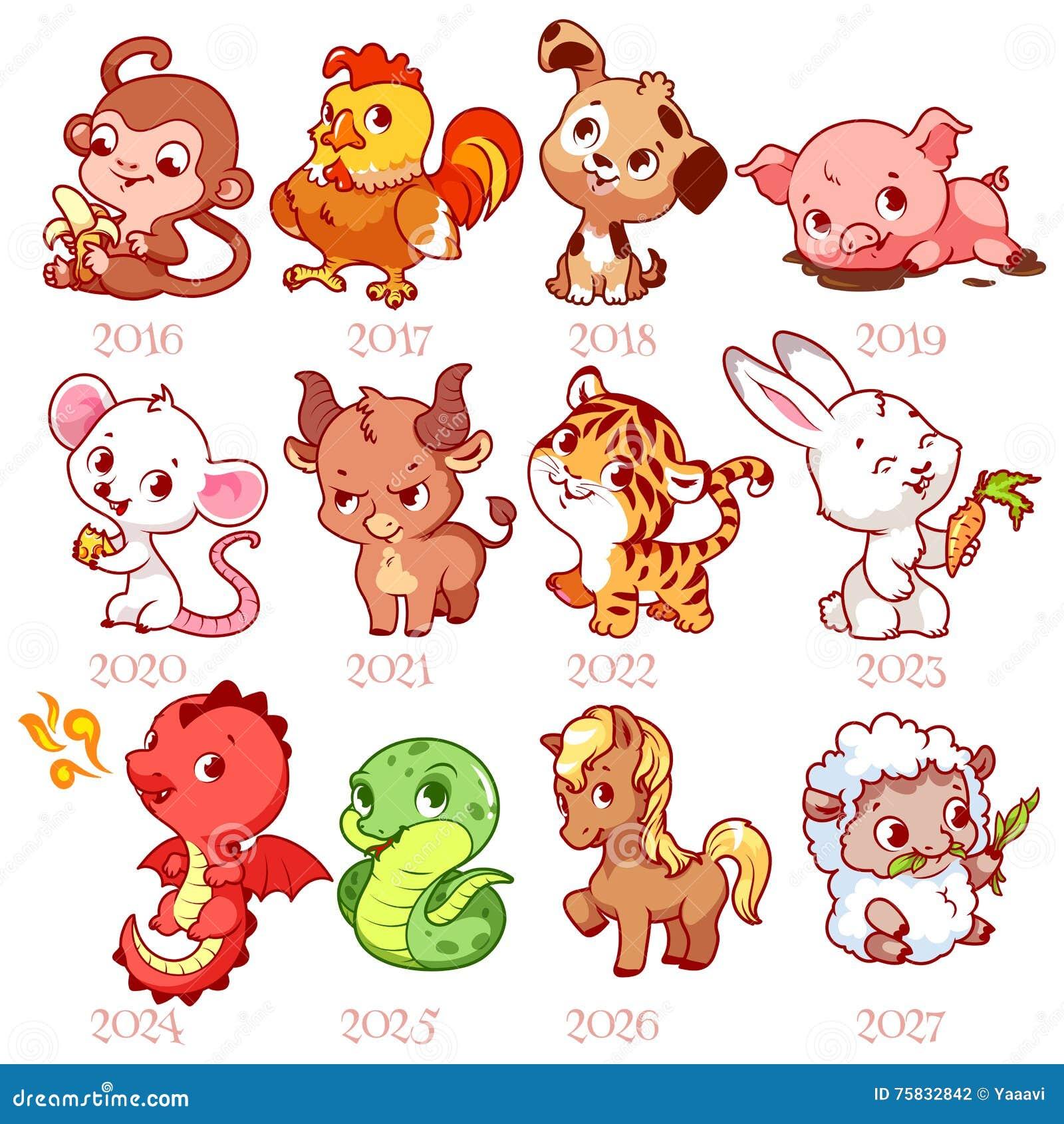 Комплект зодиака подписывает внутри стиль шаржа китайский зодиак