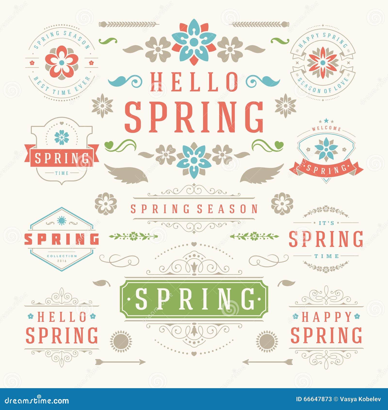 Комплект дизайна весны типографский Ретро и винтажные шаблоны стиля