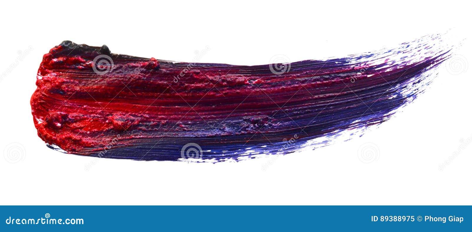 Комплект 4 изогнул handmade изолированные ходы кисти масла изолированными на белой предпосылке Текстура хода щетки детали или кру