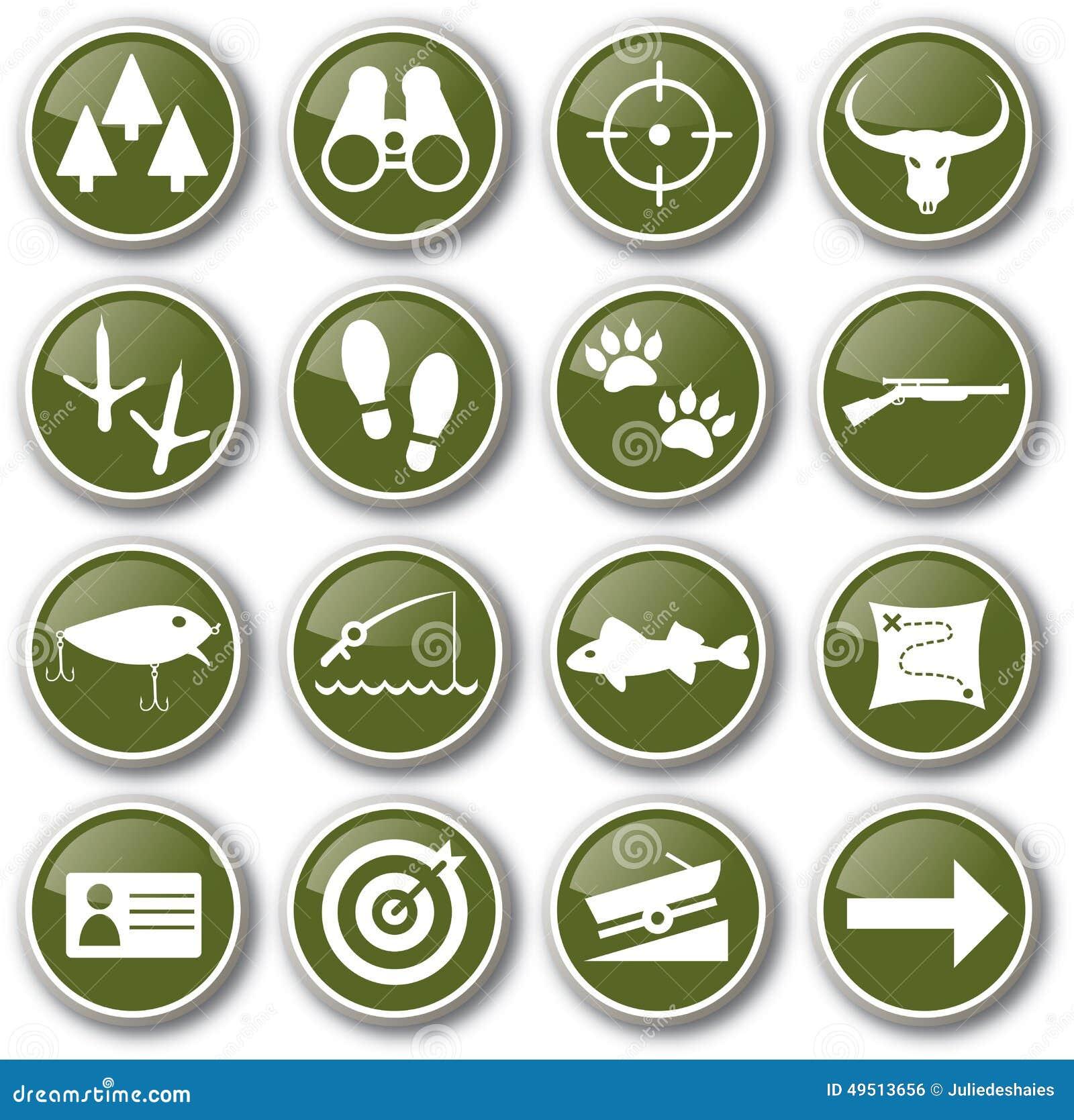 комплект иконы звероловства рыболовства