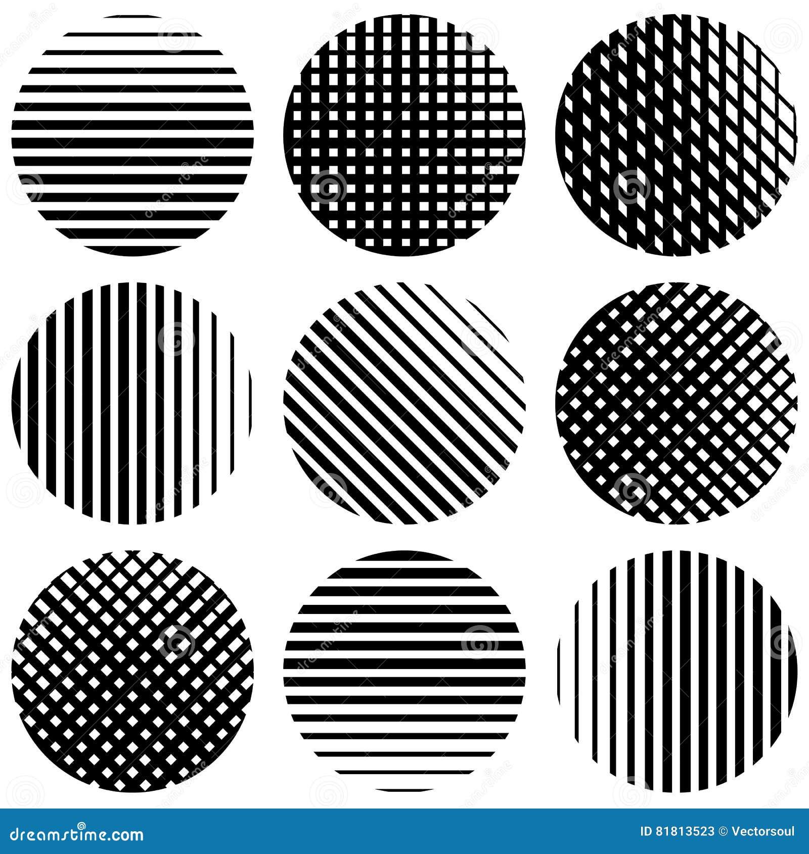 Комплект линий полутонового изображения в кругах Прямая вертикаль, горизонтальная