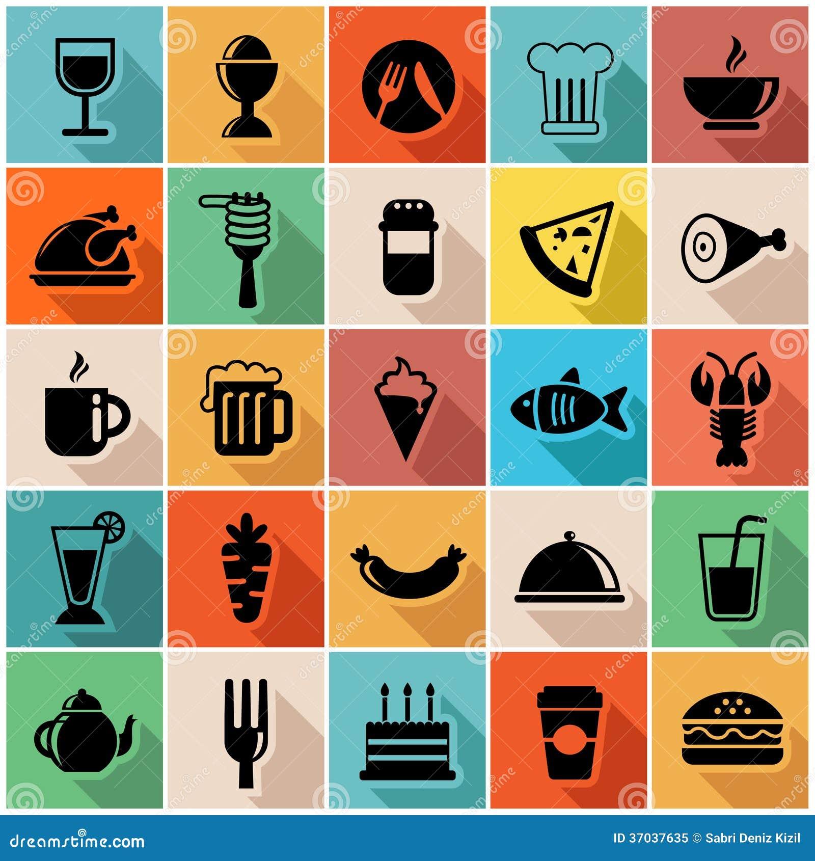Комплект иллюстрации вектора красочных значков еды внутри