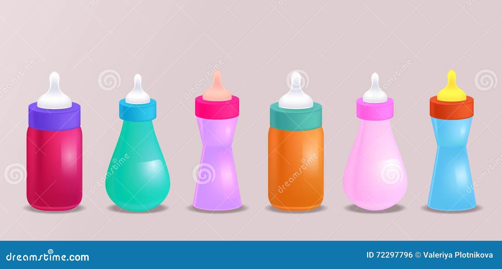 Download Комплект иллюстрации вектора реалистической бутылок младенца Иллюстрация штока - иллюстрации насчитывающей бутылкой, bluets: 72297796