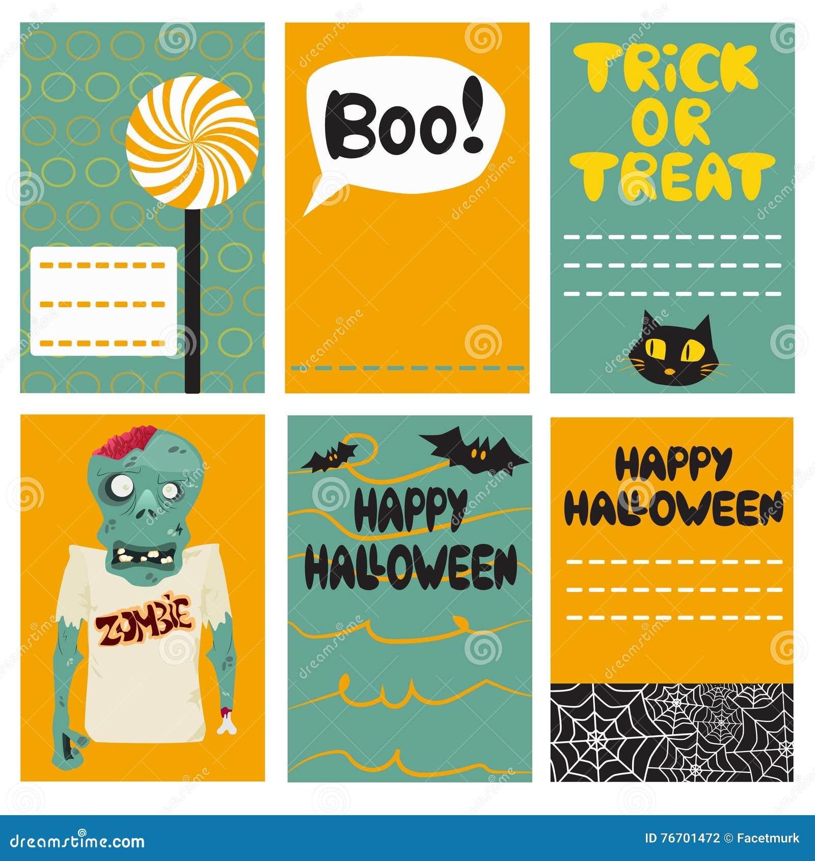 Комплект карточек хеллоуина также вектор иллюстрации притяжки corel