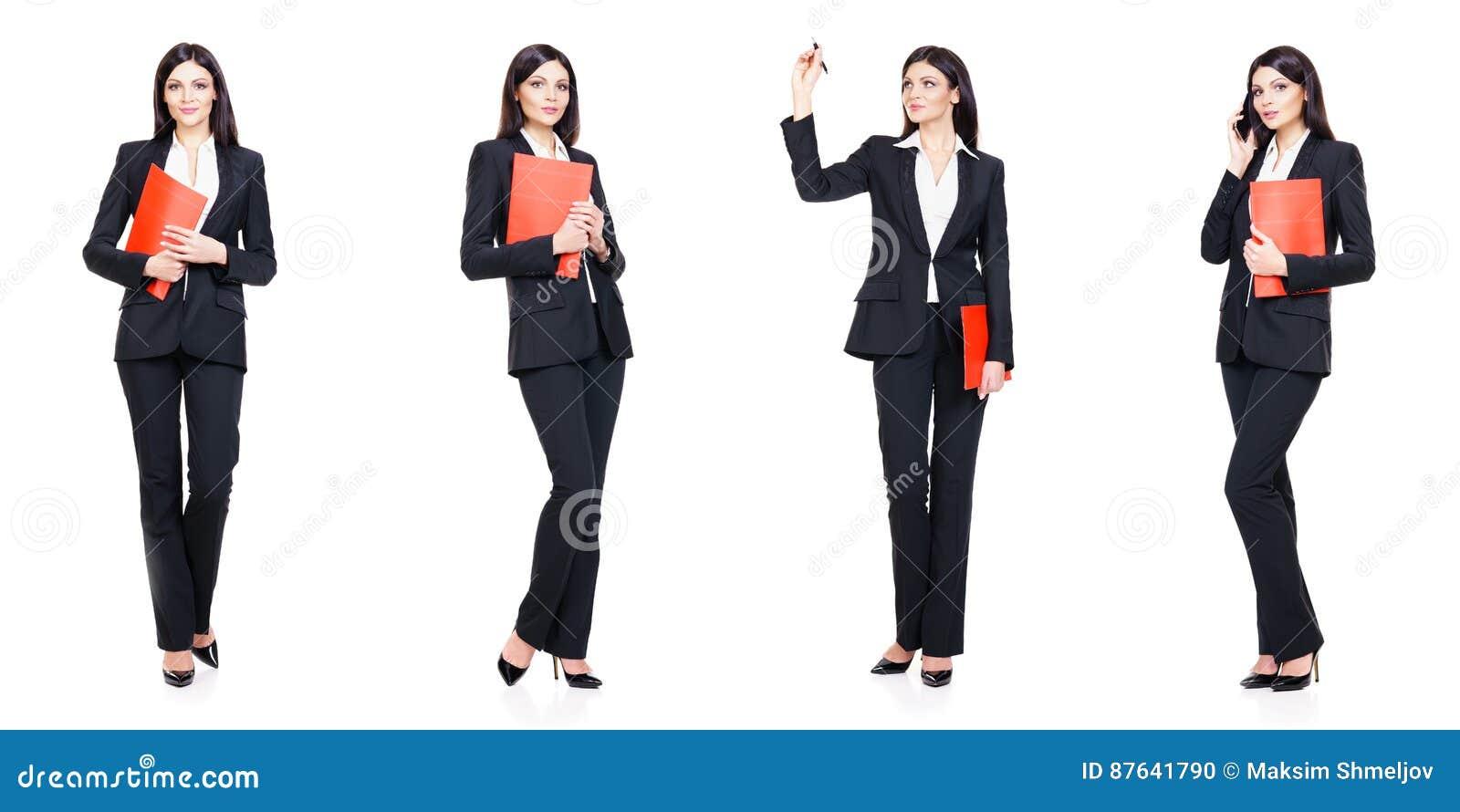 Комплект красивой, привлекательной коммерсантки изолированной на белизне Дело, концепция успеха карьеры