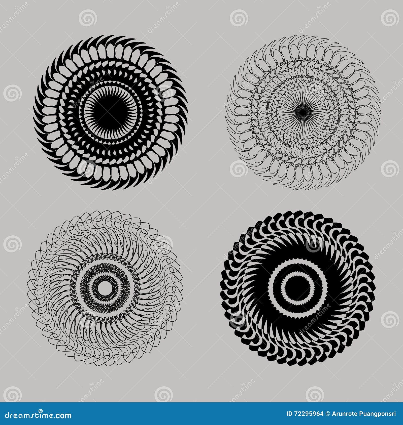 Download Комплект красивой черной линии круглых элементов геометрического дизайна Иллюстрация вектора - иллюстрации насчитывающей график, колесо: 72295964