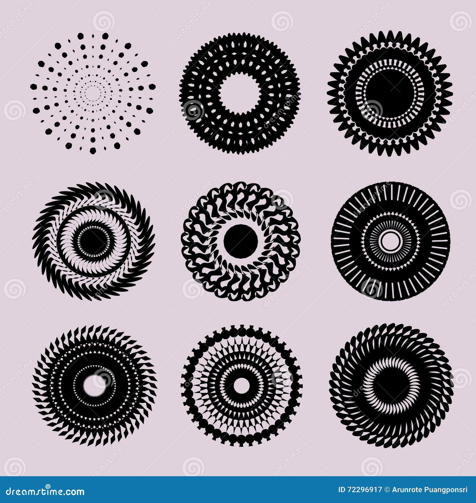 Download Комплект красивых черных круглых элементов графического дизайна Иллюстрация вектора - иллюстрации насчитывающей колесо, конструкция: 72296917