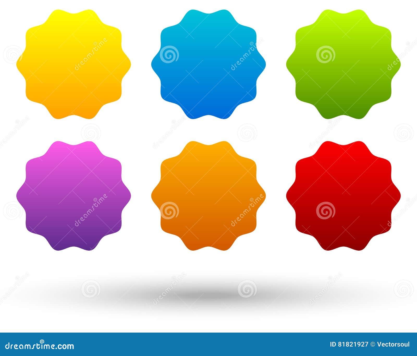 Комплект 6 красочного, яркая кнопка, предпосылки знамени с пустым s