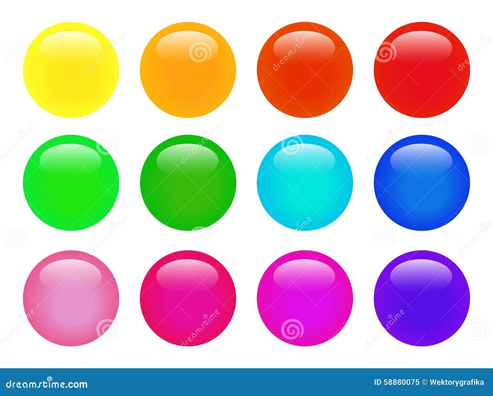 Комплект красочной изолированной лоснистой сети вектора застегивает Красивые кнопки интернета на белой предпосылке