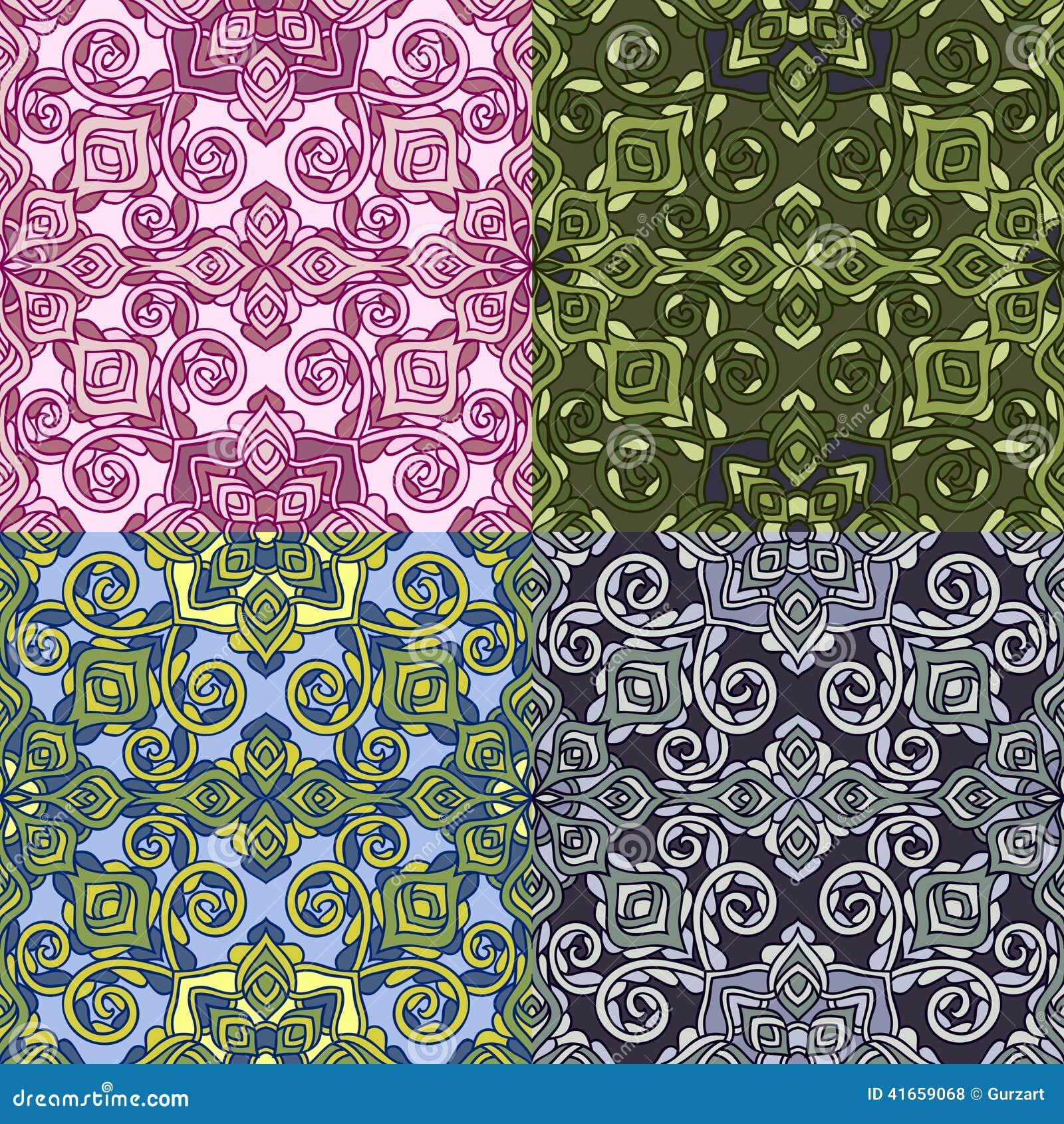 Комплект 4 красочных безшовных картин EPS-8