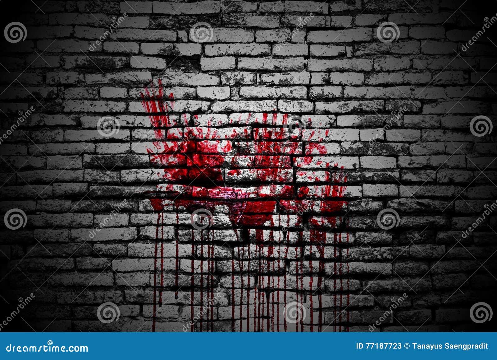 Комплект 8 кровопролитное handprint на кирпичной стене