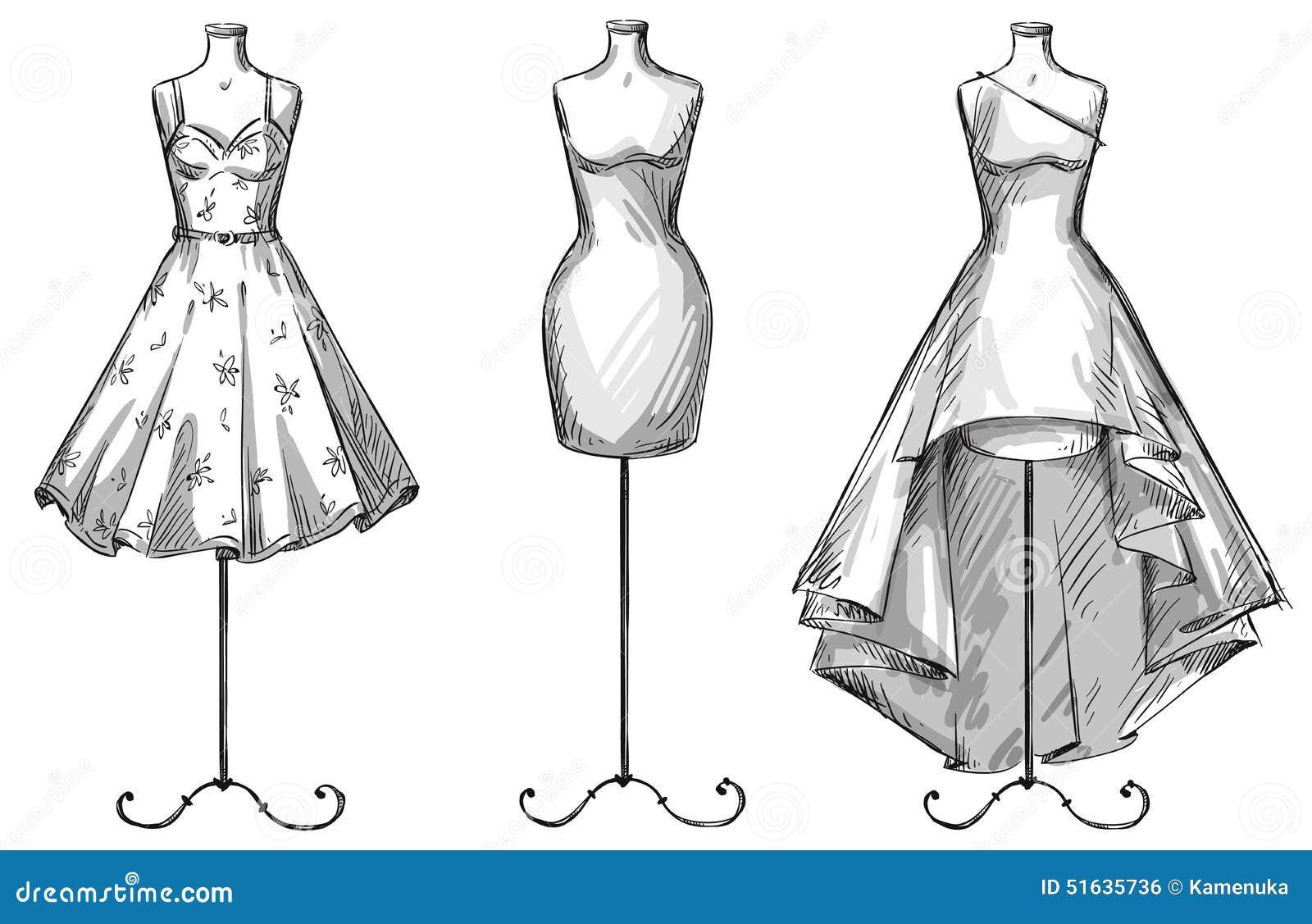 Раскраски платья на манекенах
