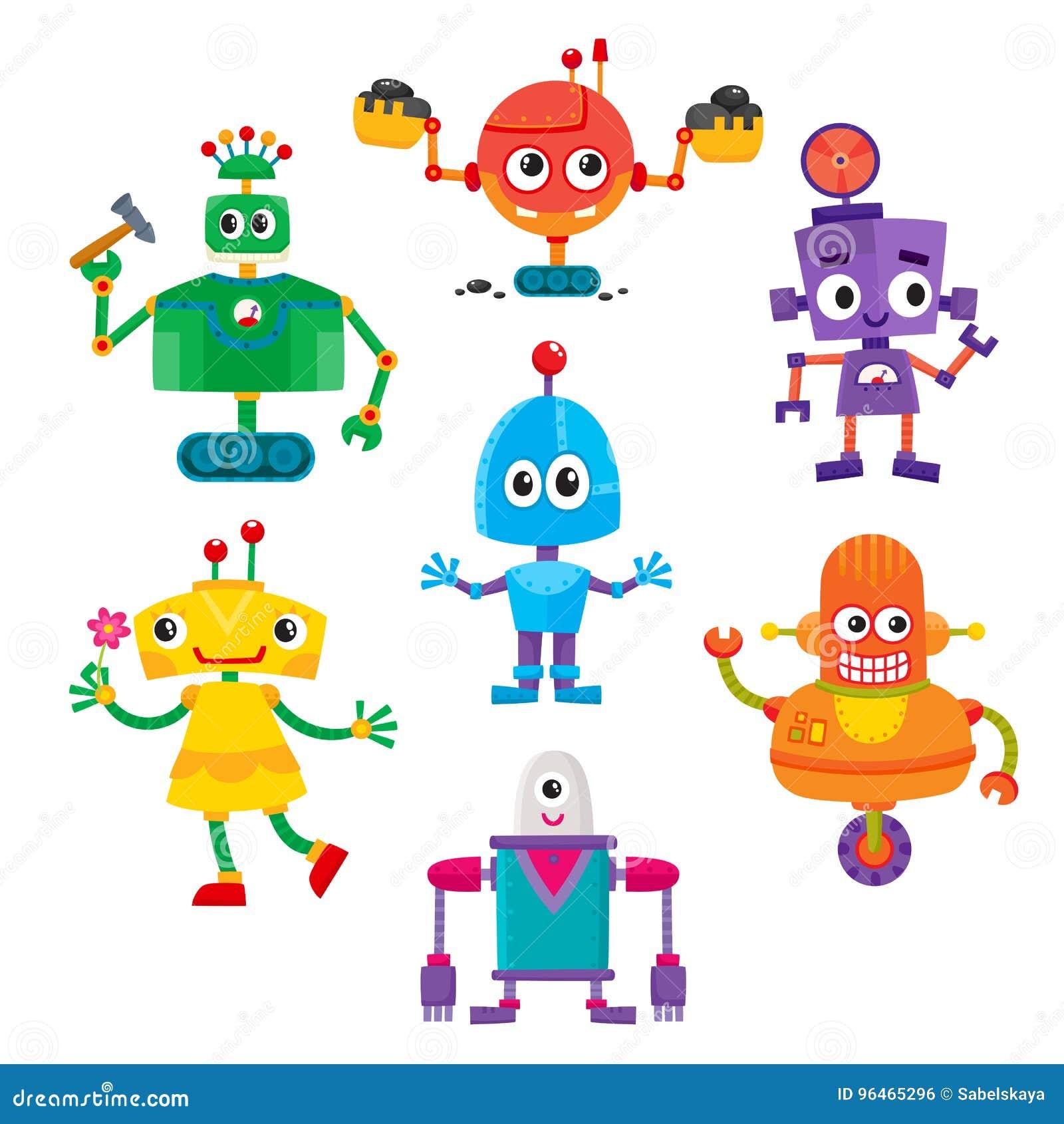 Комплект милых и смешных красочных характеров робота