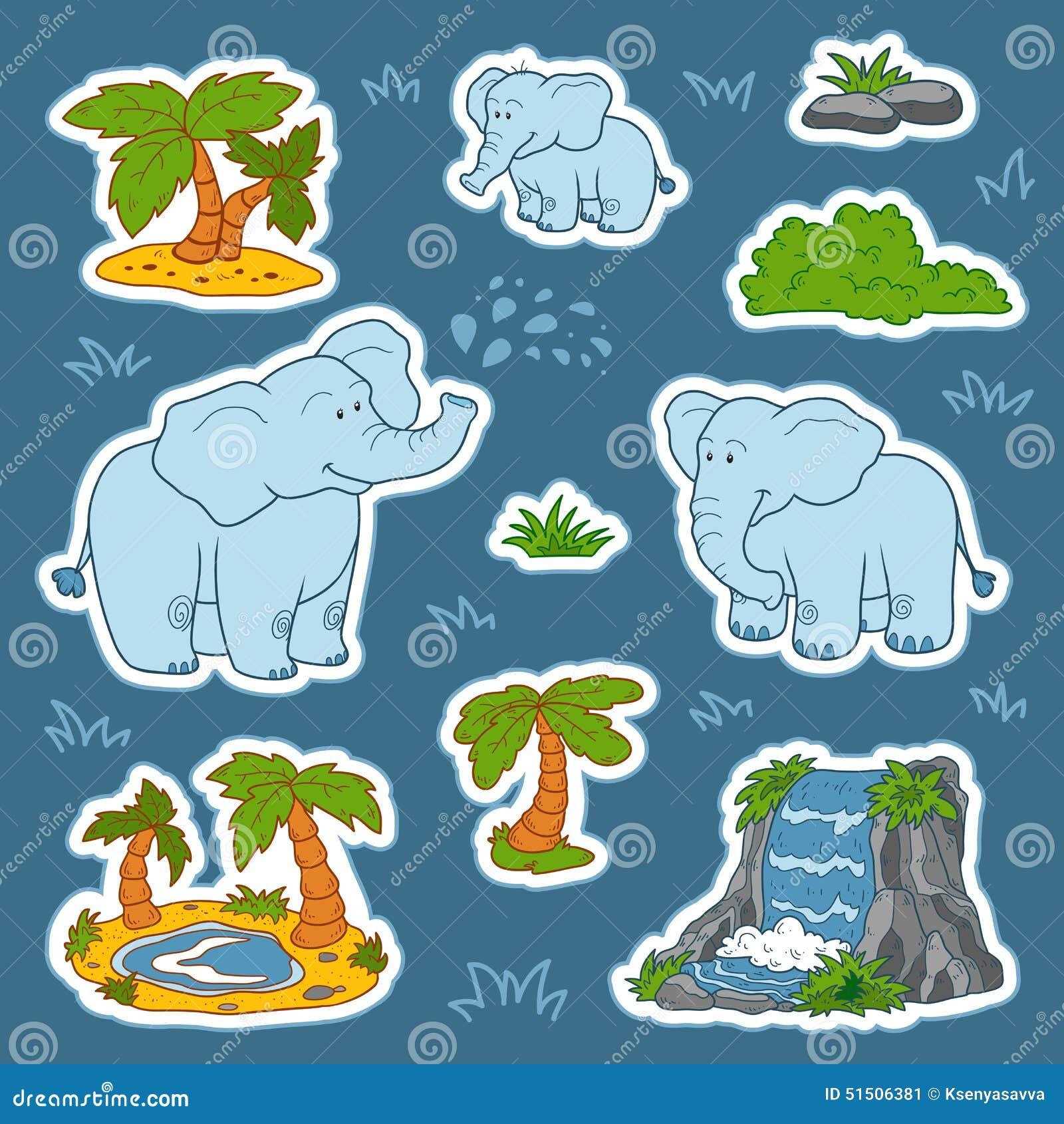 Комплект милых слонов и природные объекты, стикеры вектора anim