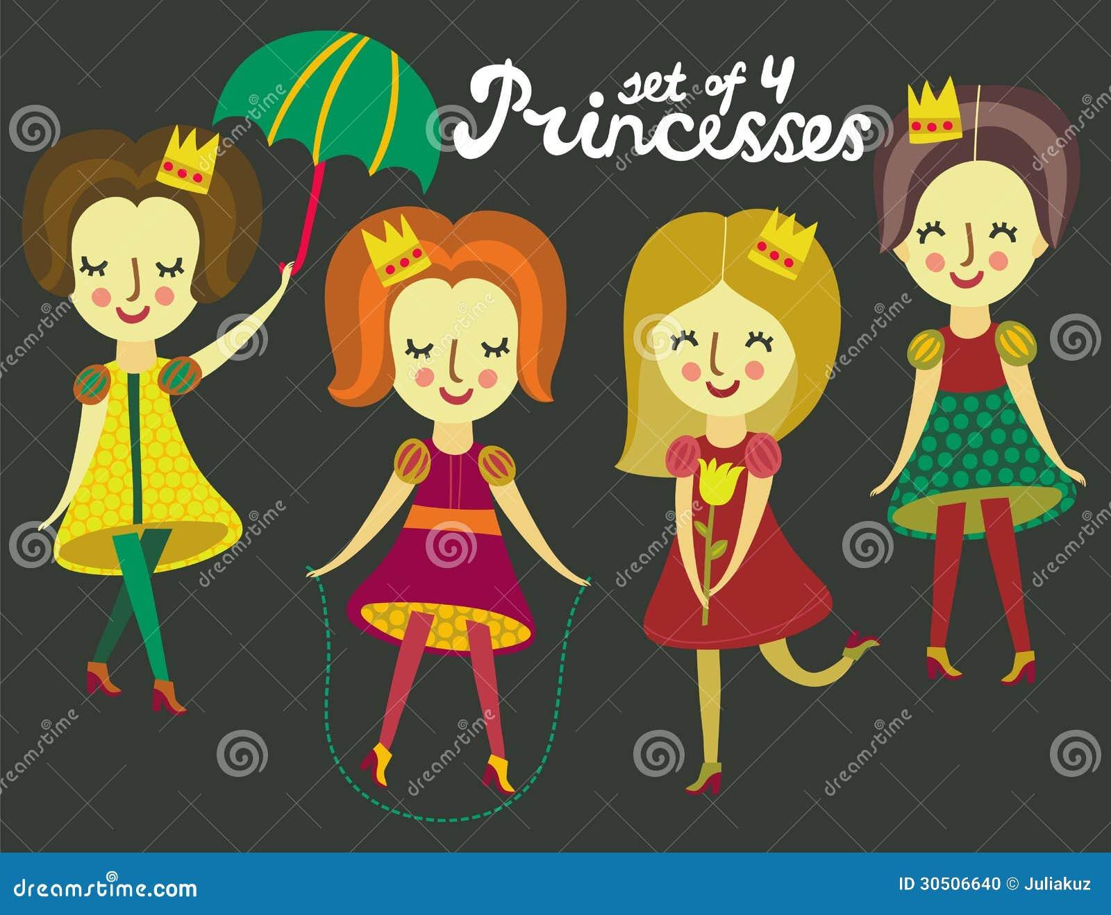 Комплект 4 милых цветастых принцесс