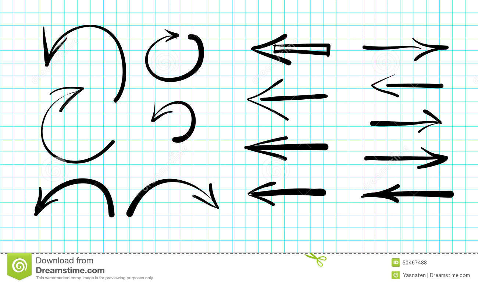 Комплект нарисованных вручную doodles стрелки вектора