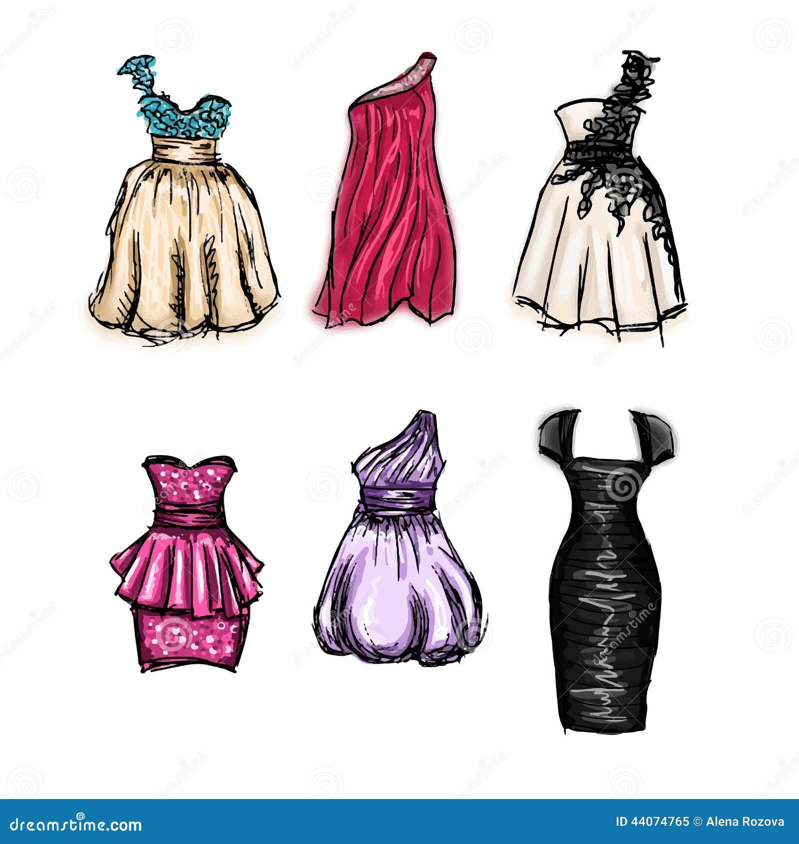 Дизайны платьев нарисованные