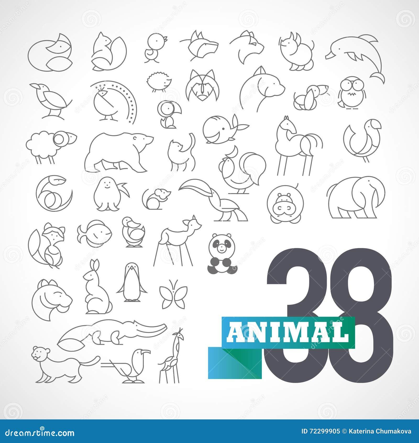 Комплект логотипа вектора плоско простой minimalistic животный