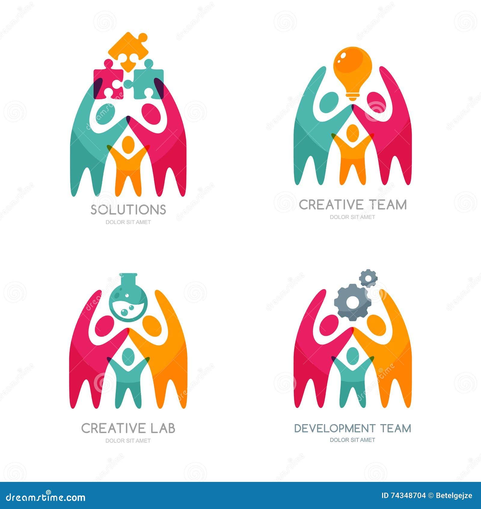 Комплект логотипа, значков или эмблемы вектора человеческих