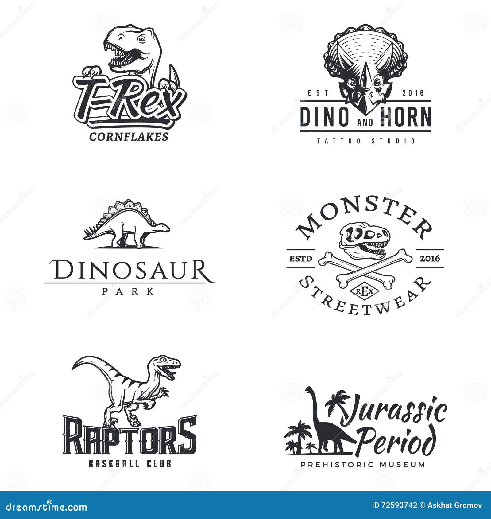Комплект логотипа Dino Логотип динозавра Дизайн талисмана спорта хищника Шаблон ярлыка T-rex вектора Иллюстрация юрского периода