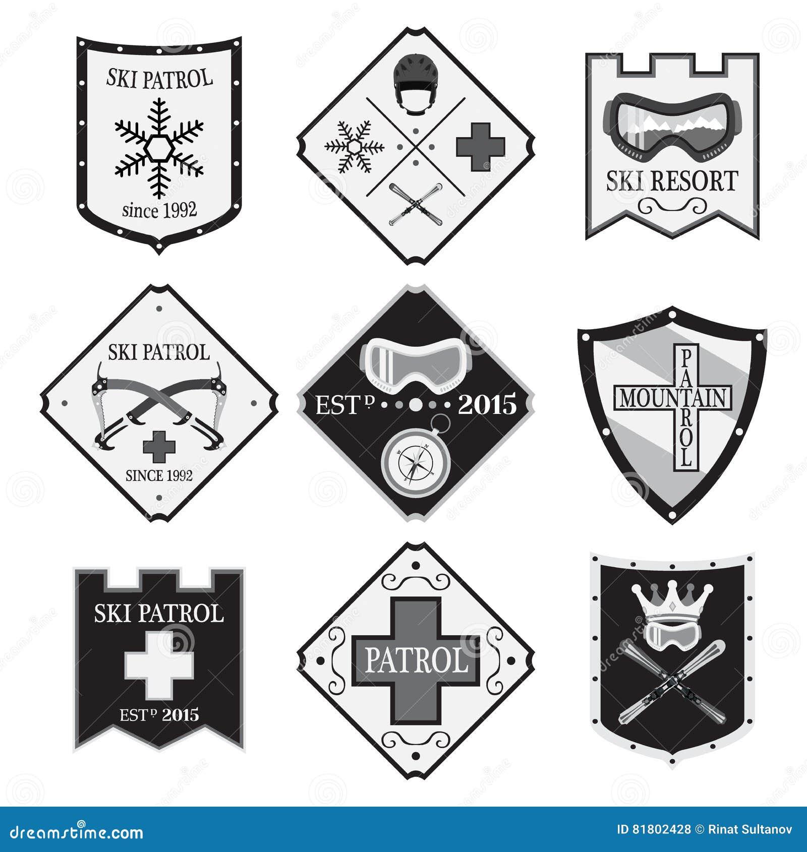 Комплект логотипов лыжи, патруль лыжи, прокат в плоском стиле Скорая помощь горы