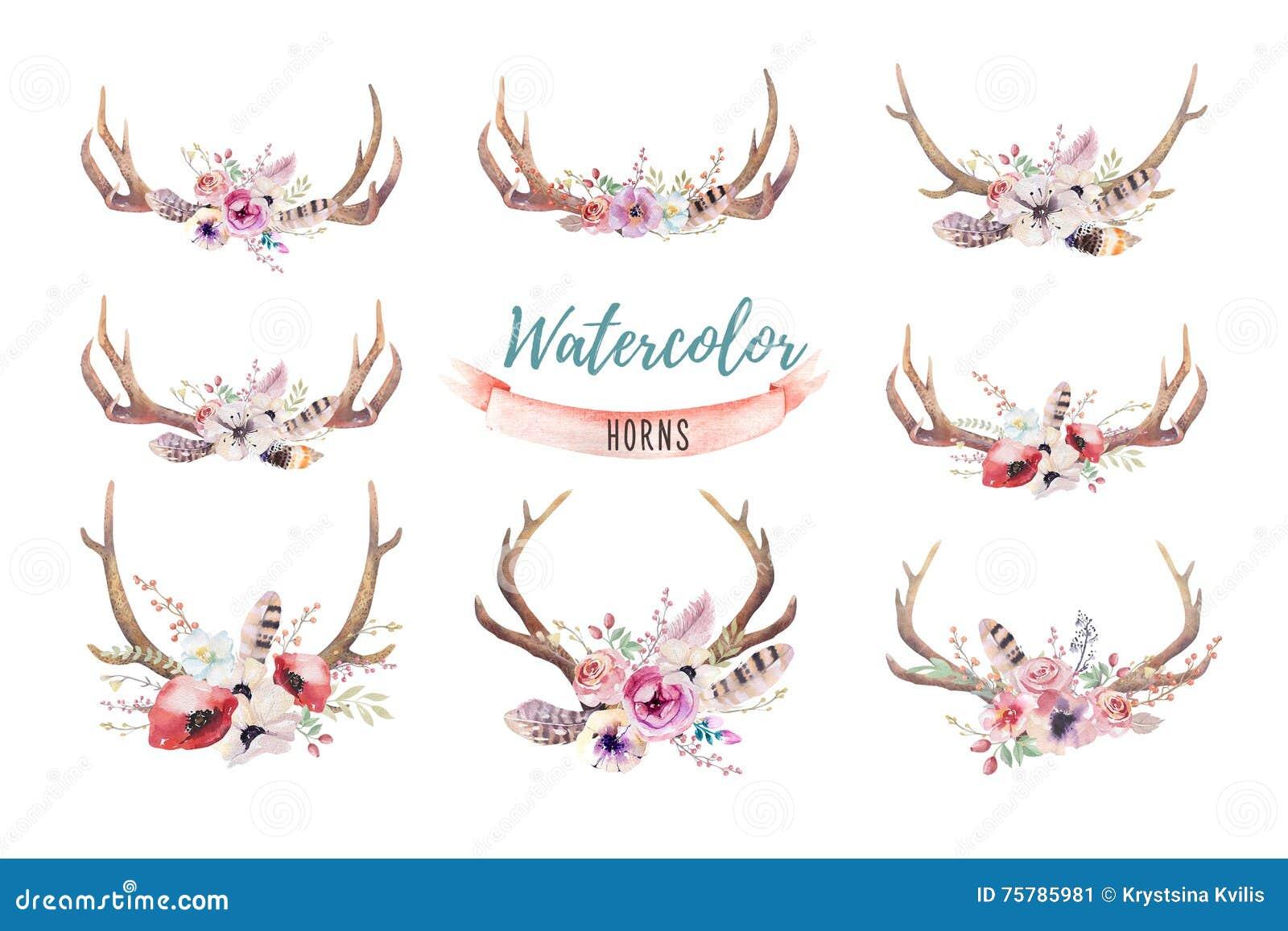 Комплект печати antler boho акварели флористической западный богемец de