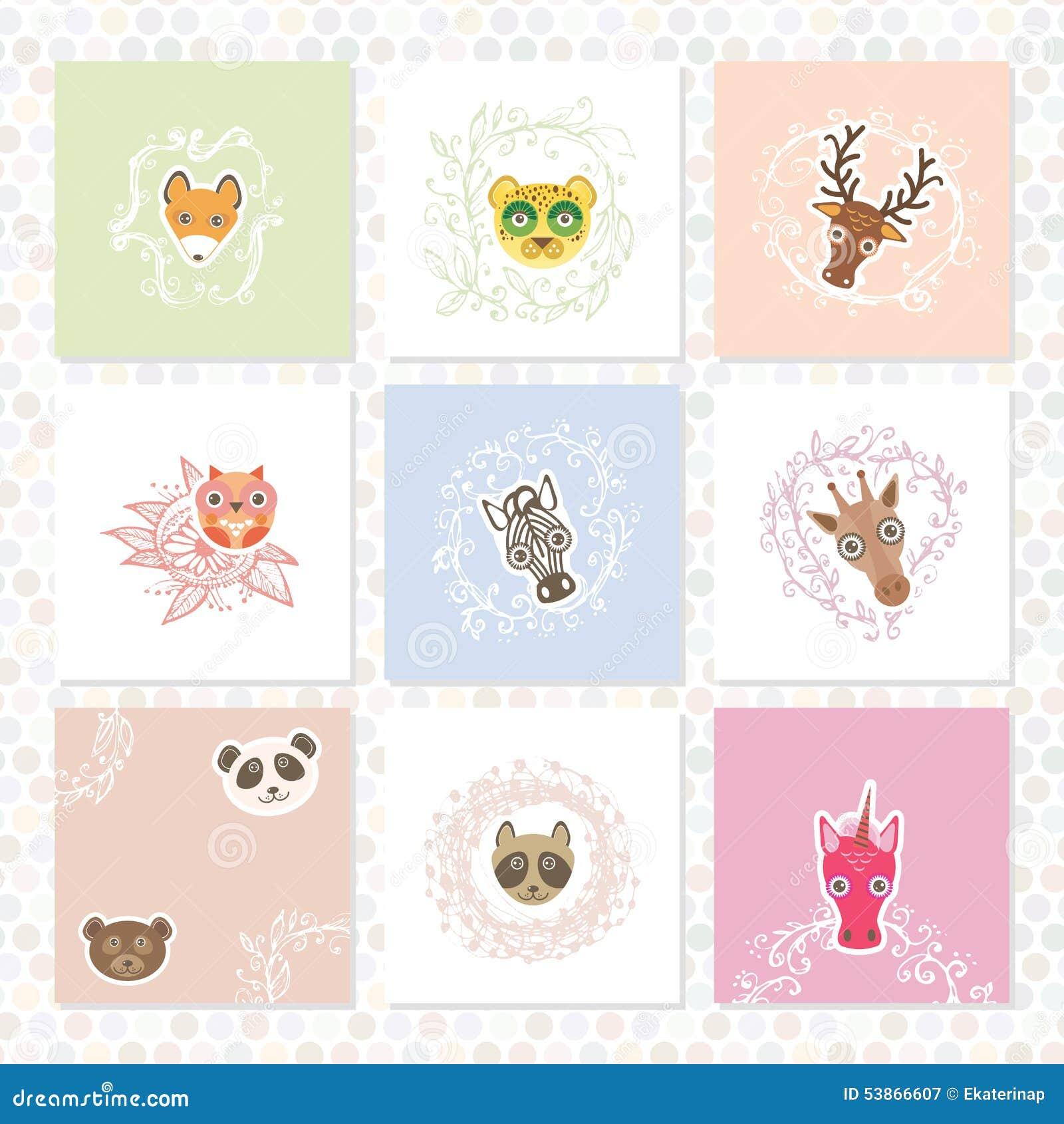 Открытка с нарисованными животными