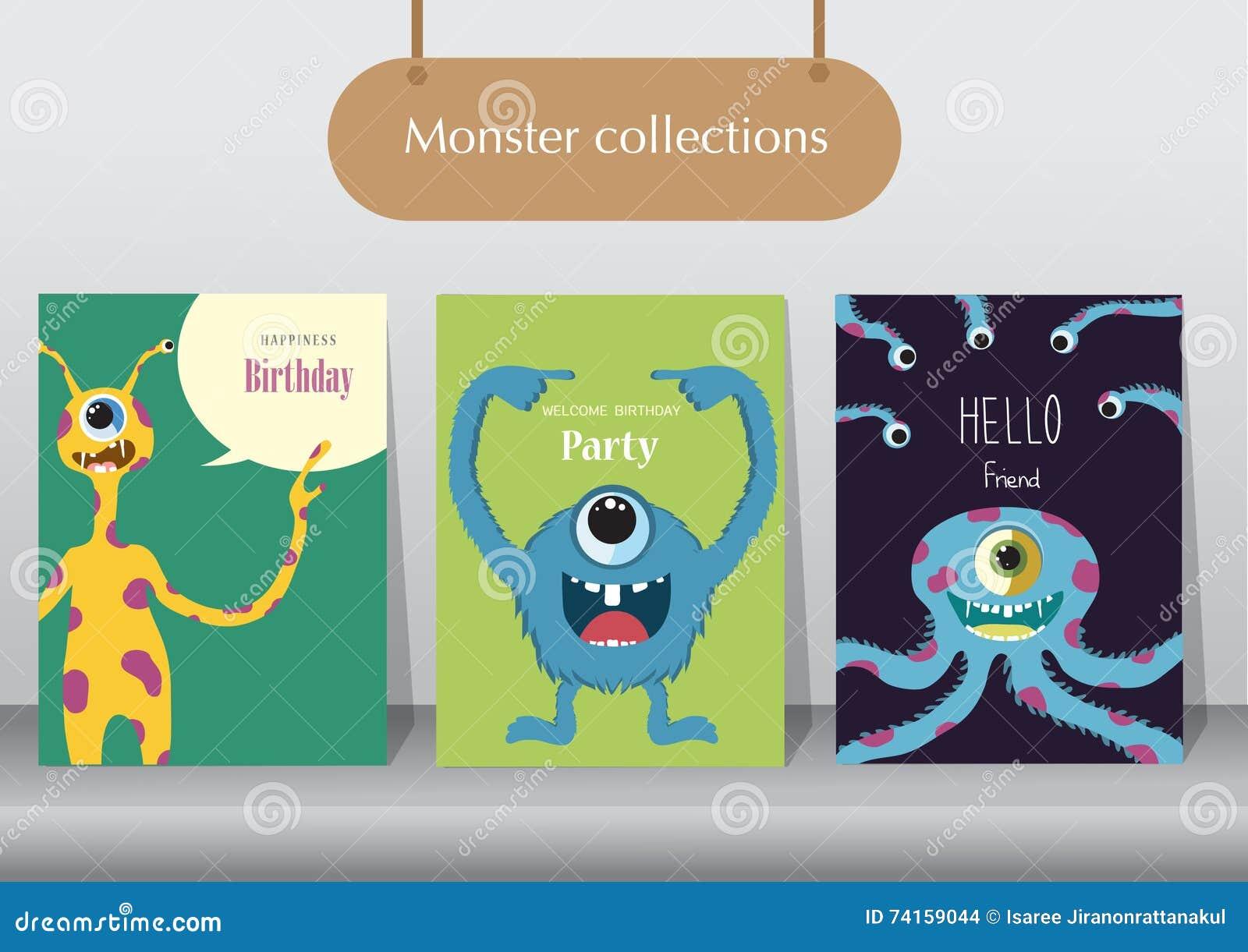 Комплект поздравительых открыток ко дню рождения, плакат, шаблон, поздравительные открытки, животные, изверг, иллюстрации вектора