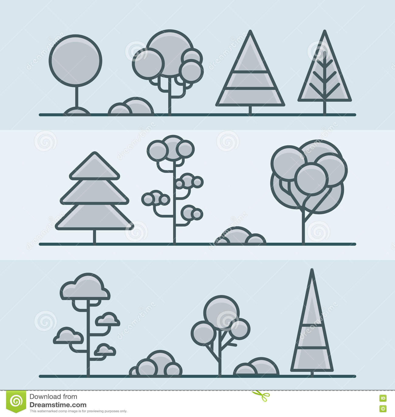 Комплект природы леса парка куста дерева геометрический линейно