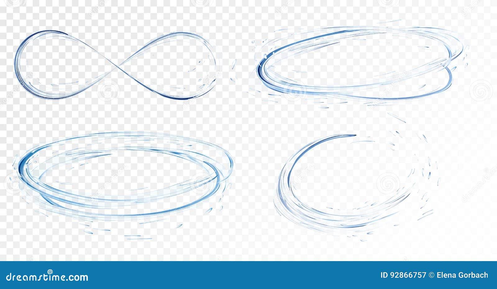 Комплект прозрачной воды брызгает, круги, водовороты, падения и крона от падать в воду в свете - голубых цветах