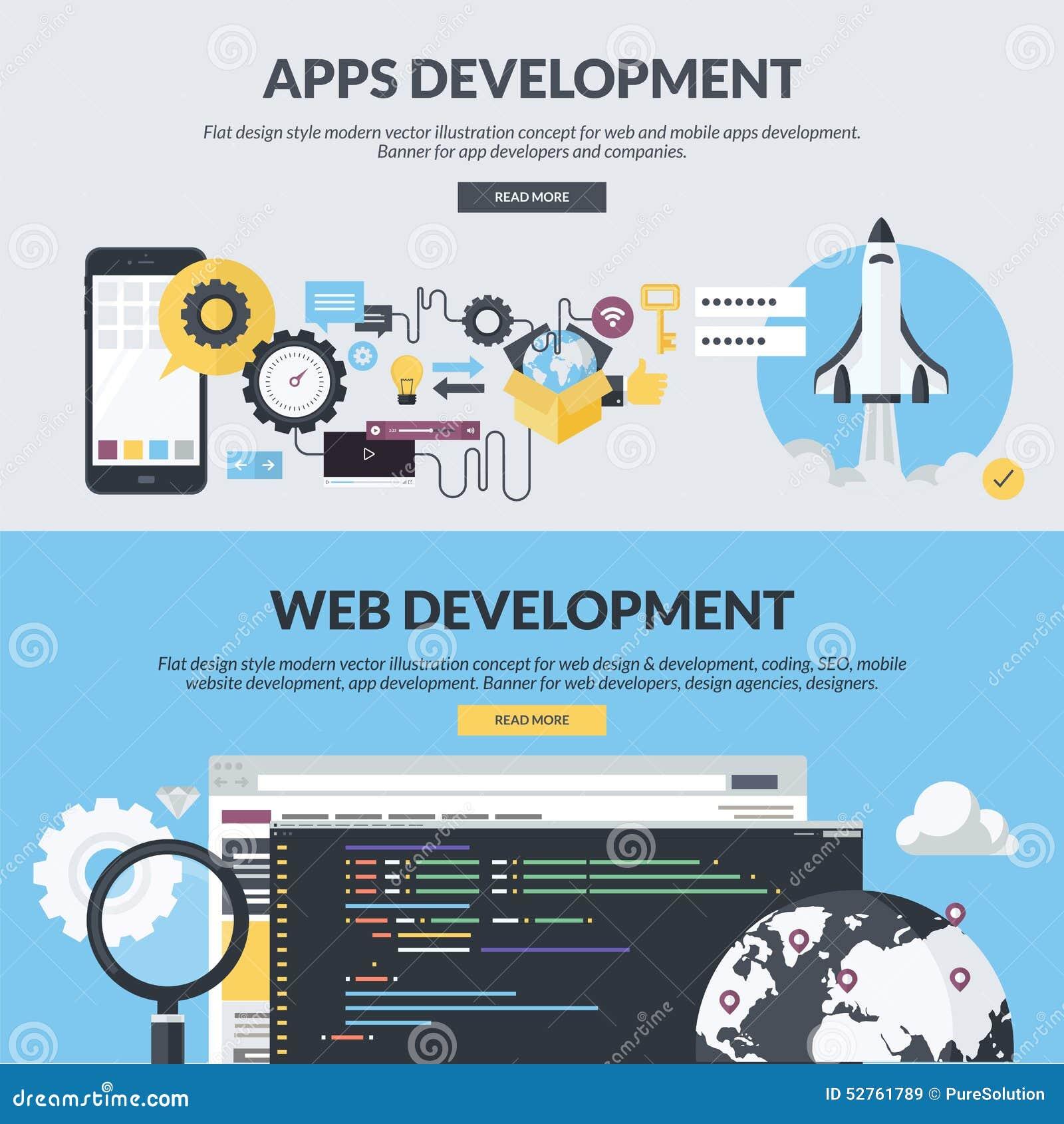 Комплект плоских знамен стиля дизайна для сети и развития app