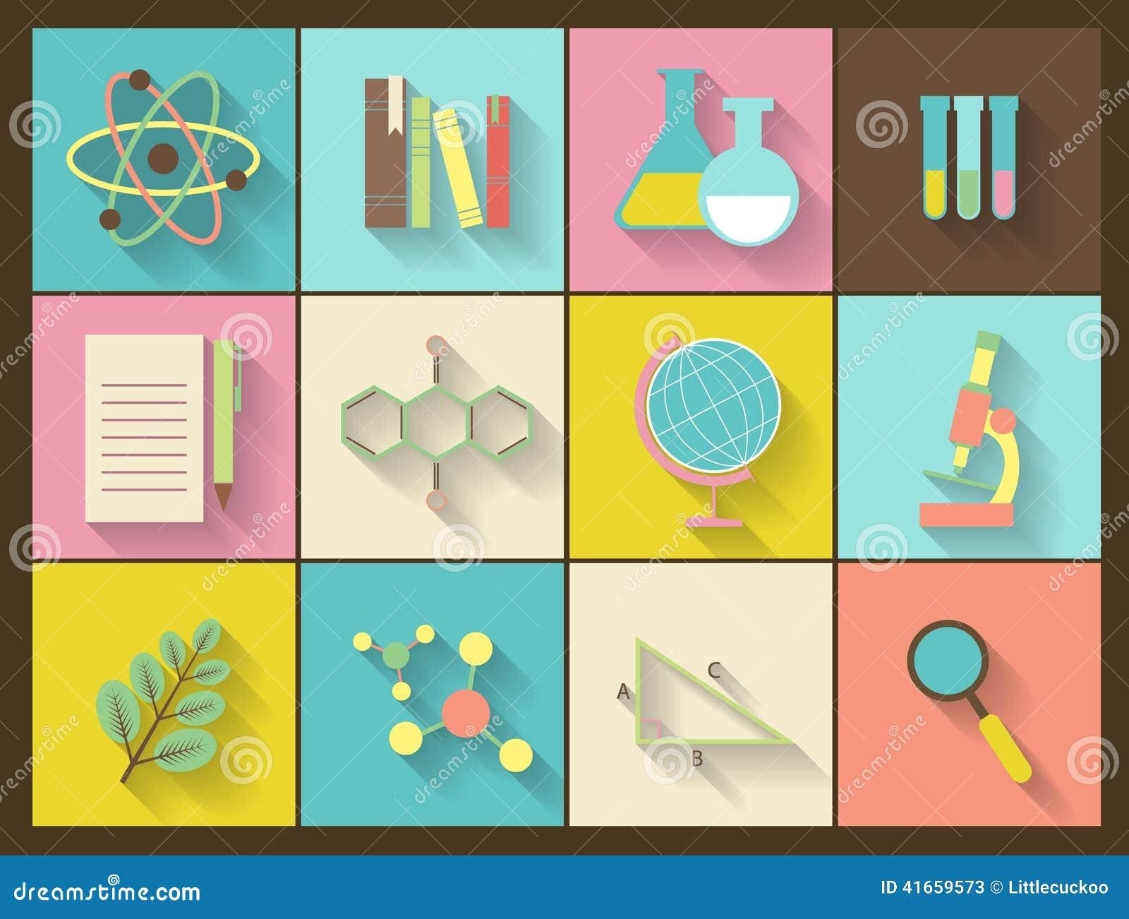 Комплект плоских значков образования для дизайна