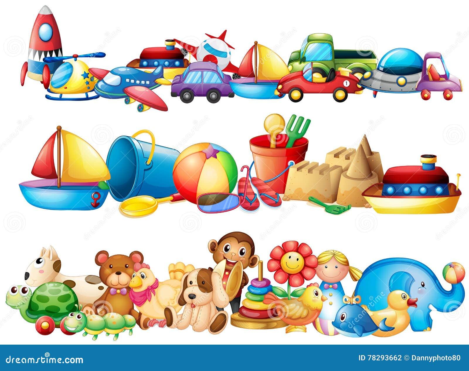 Комплект разных видов игрушек