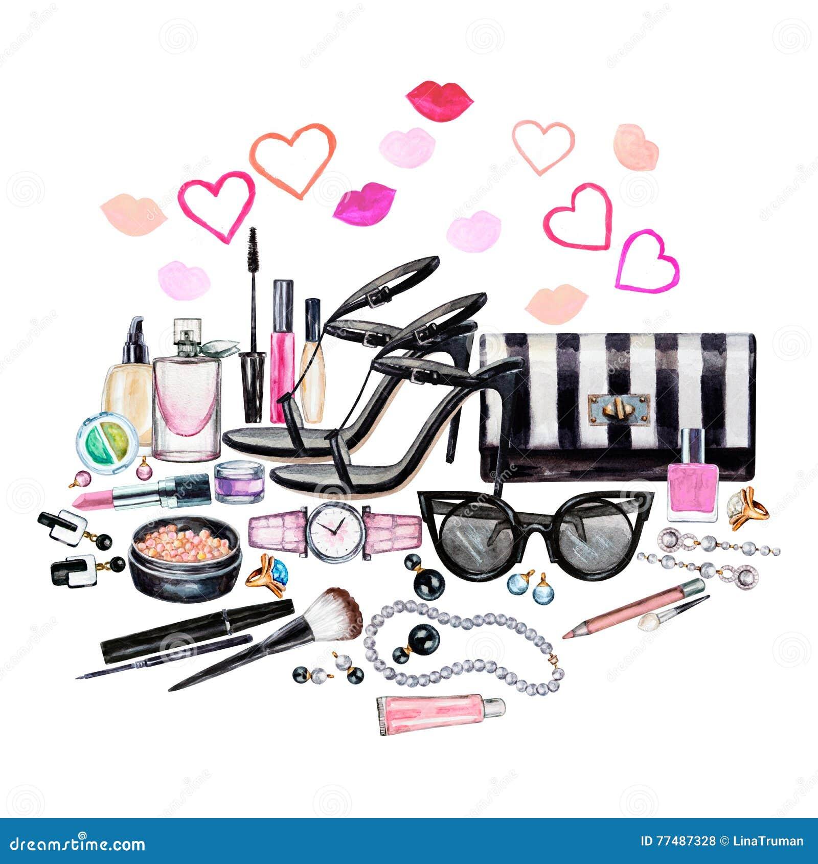 Комплект различных аксессуаров женщины акварели Продукты состава