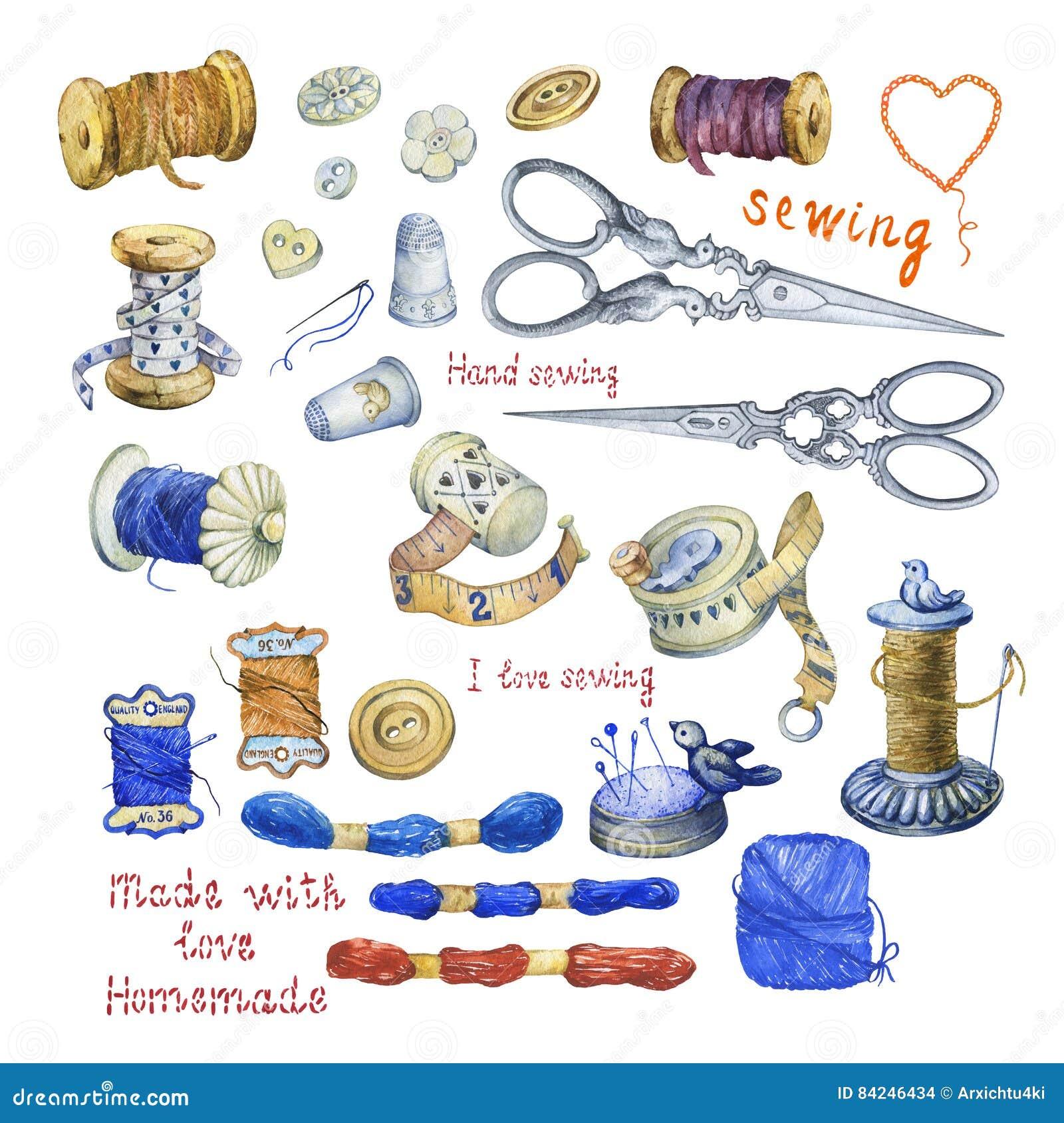 Комплект различных винтажных объектов для шить, ремесленничества и handmade