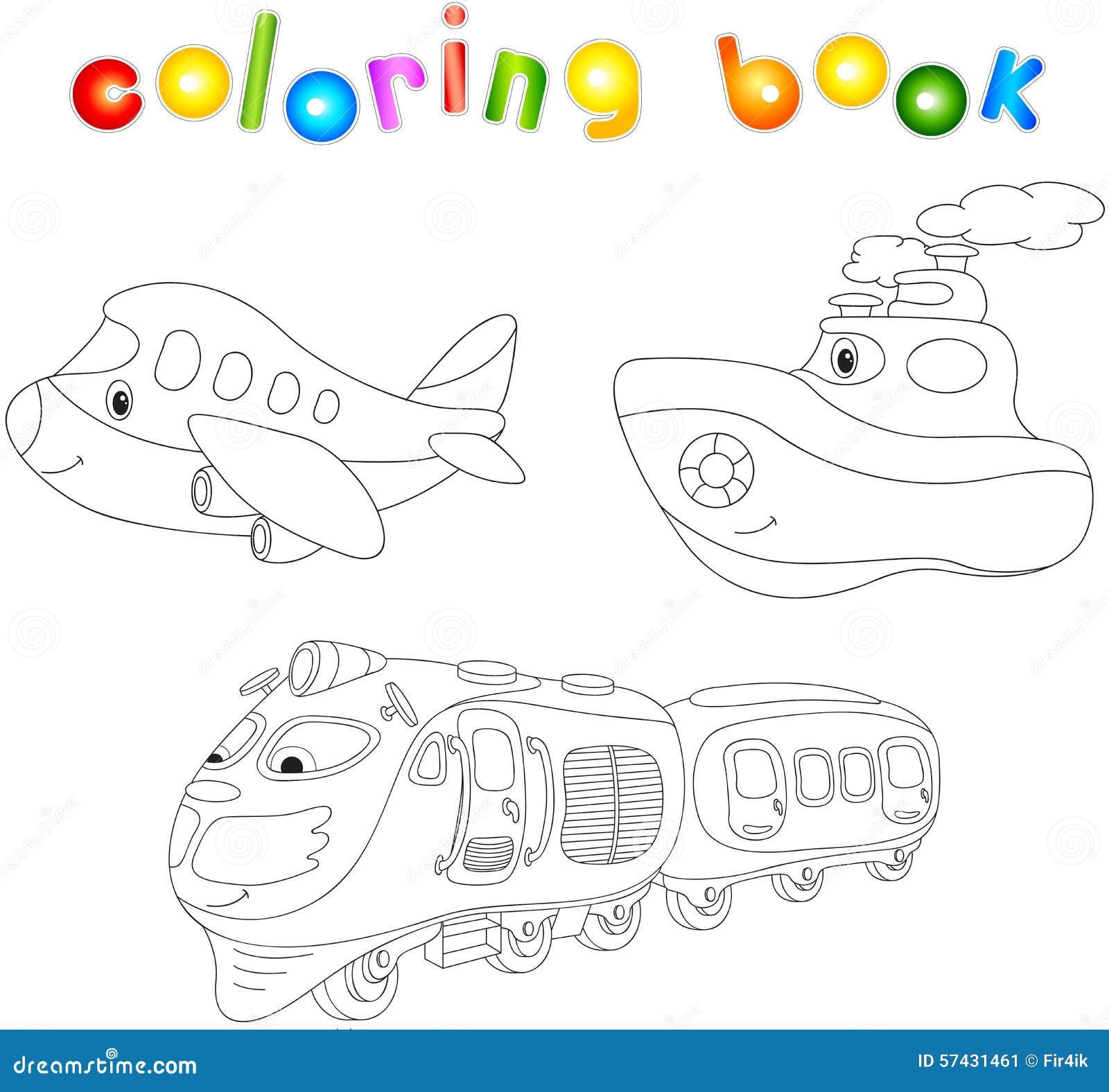 Комплект самолета, корабля и поезда Книжка-раскраска для ...