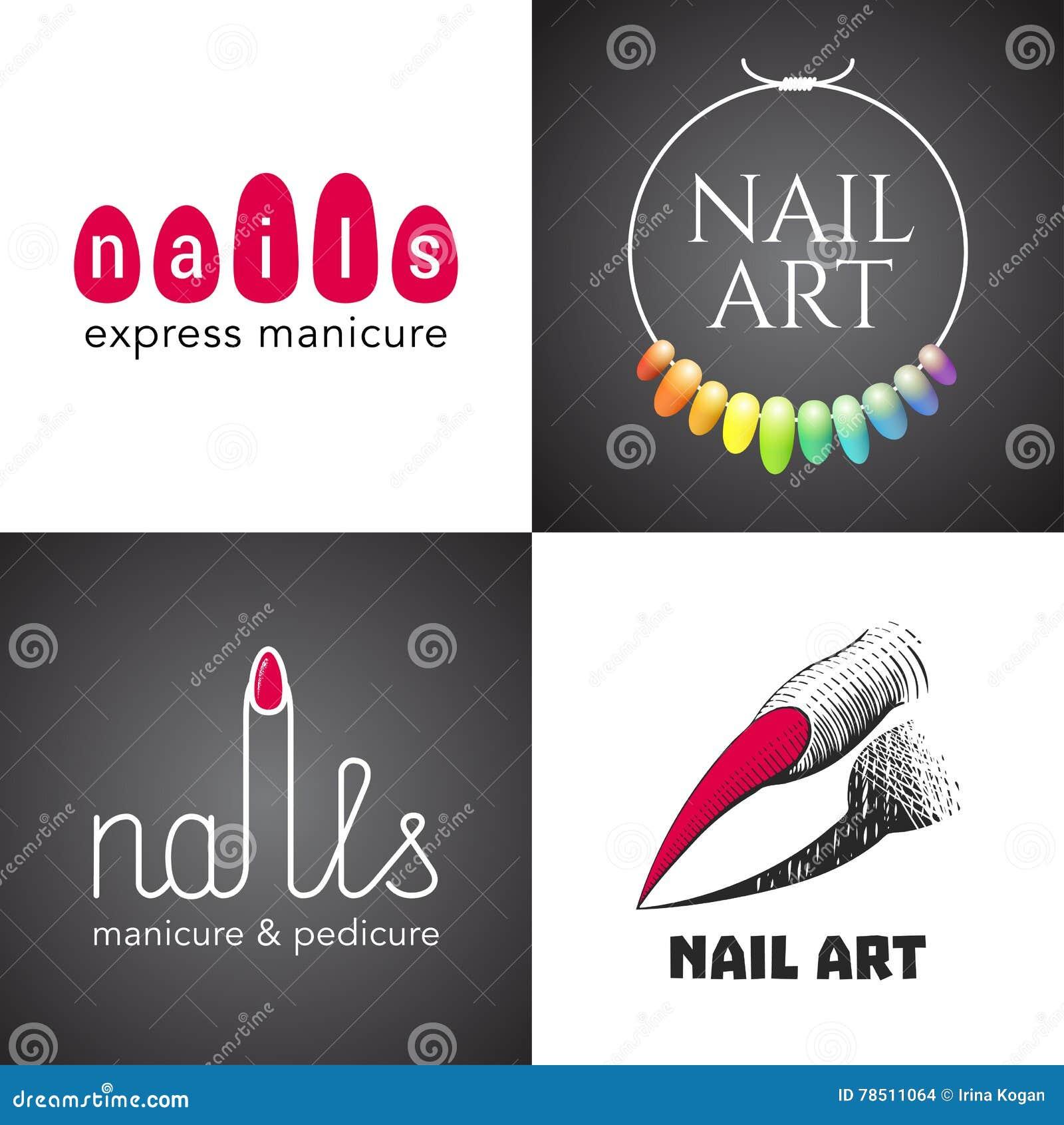 Комплект салона ногтей, логотипа вектора искусства ногтей, значка, символа, эмблемы
