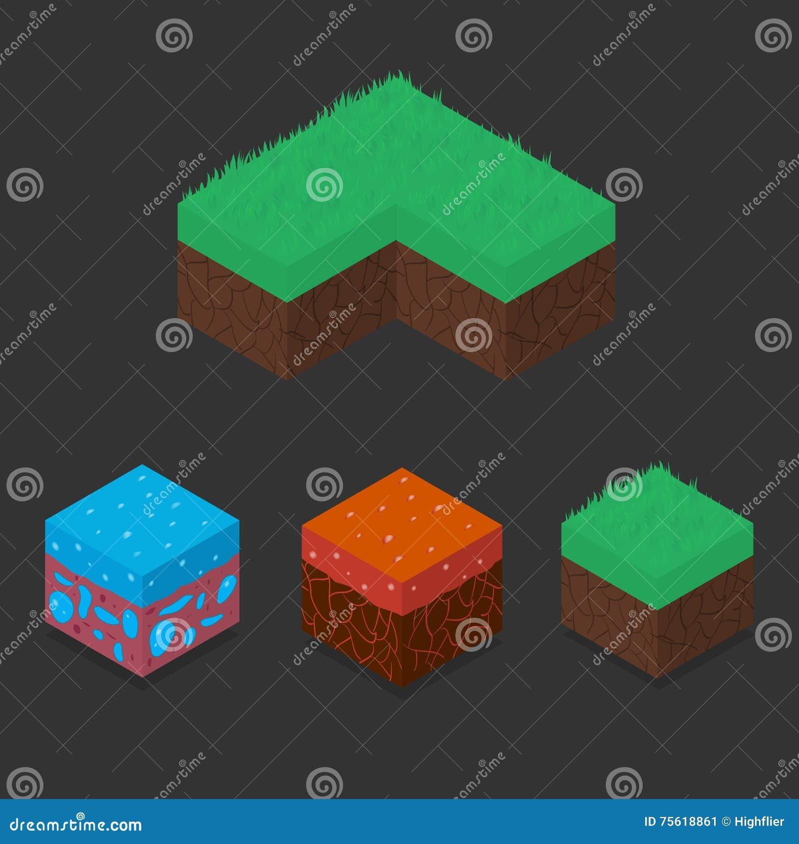 Комплект собрания равновеликих кубов ландшафта 3D