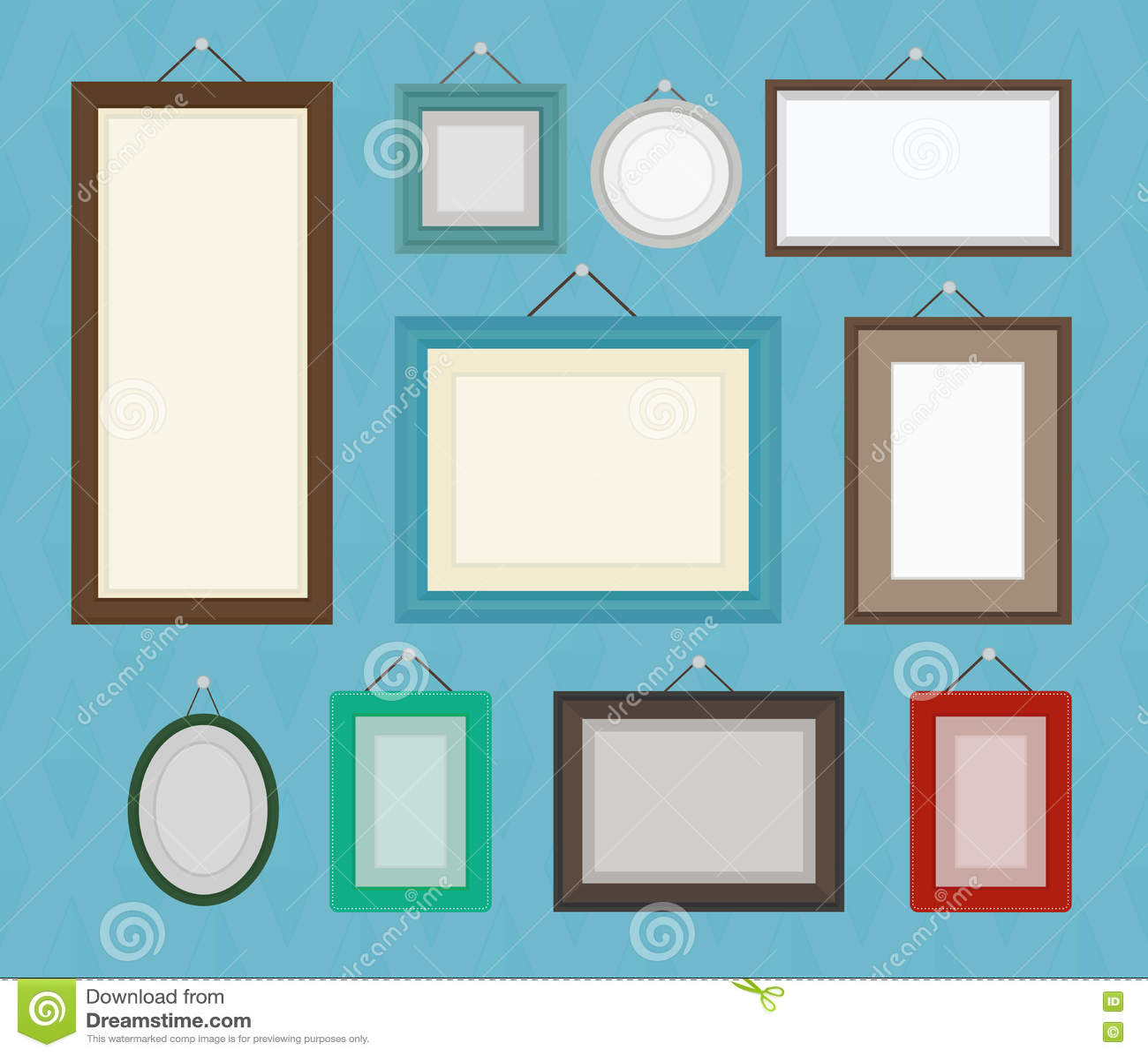 Комплект собрания шаблона картинной рамки другого цвета пустой