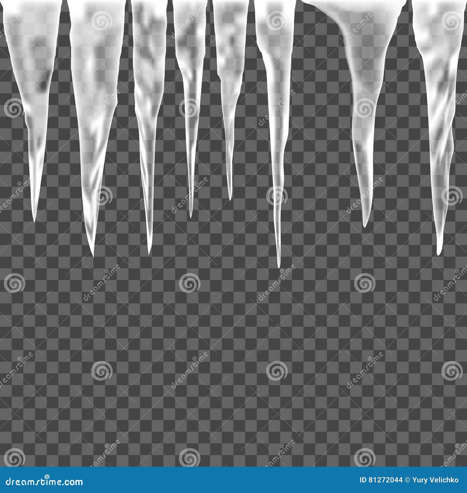 Комплект сосульки льда на прозрачной предпосылке