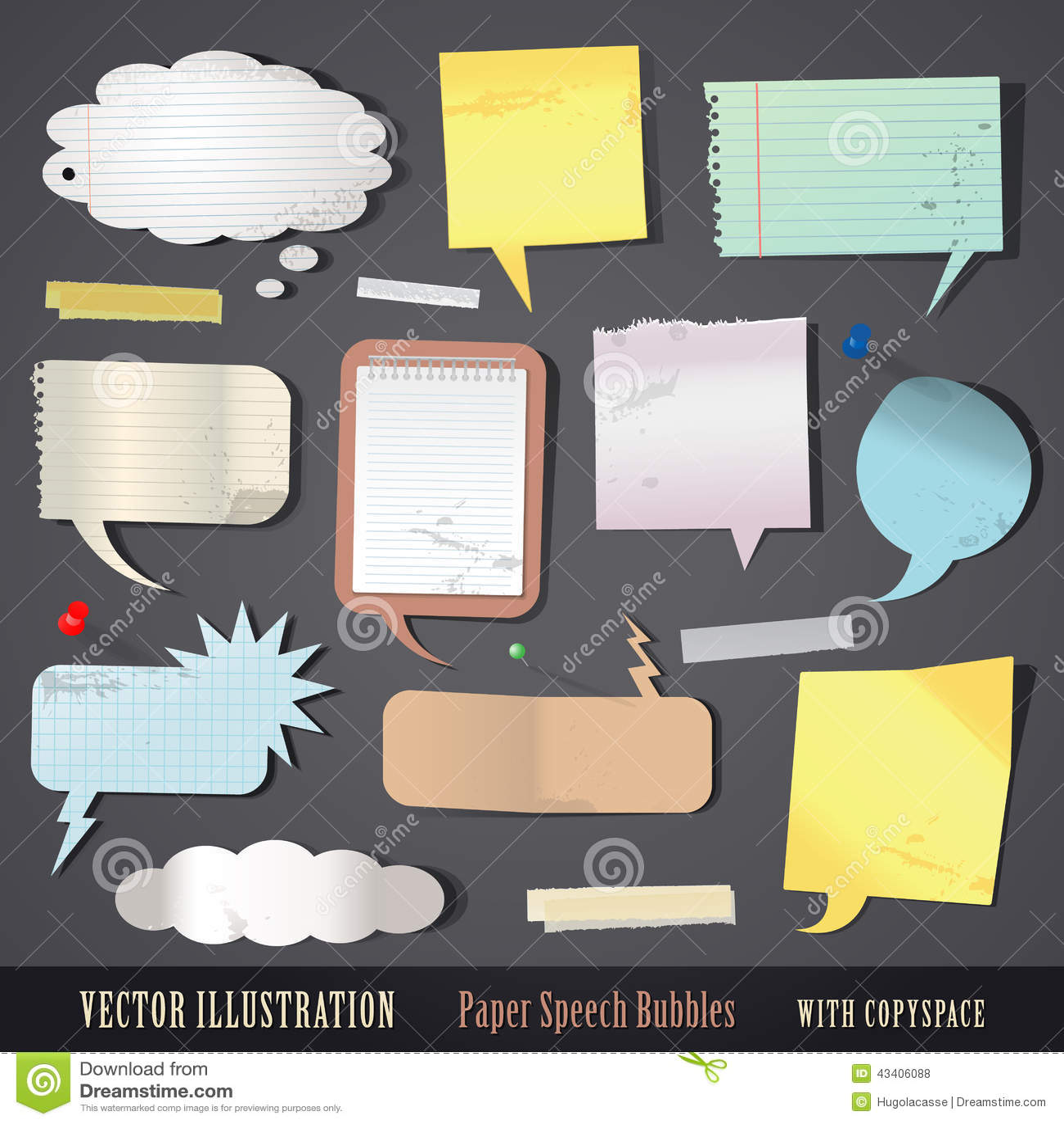Комплект текстурированных бумажных пузырей речи