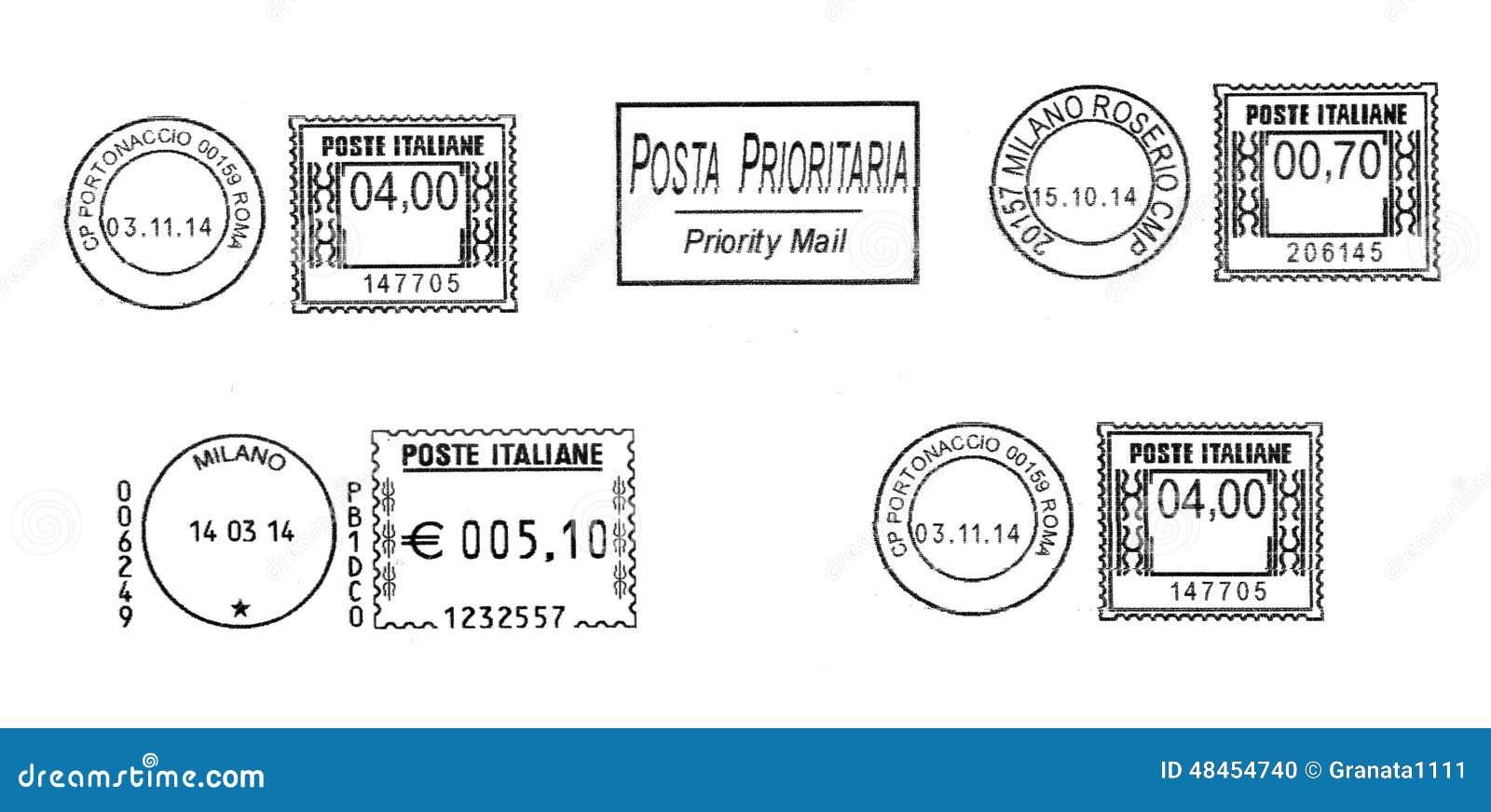 Комплект темных итальянских postmarks
