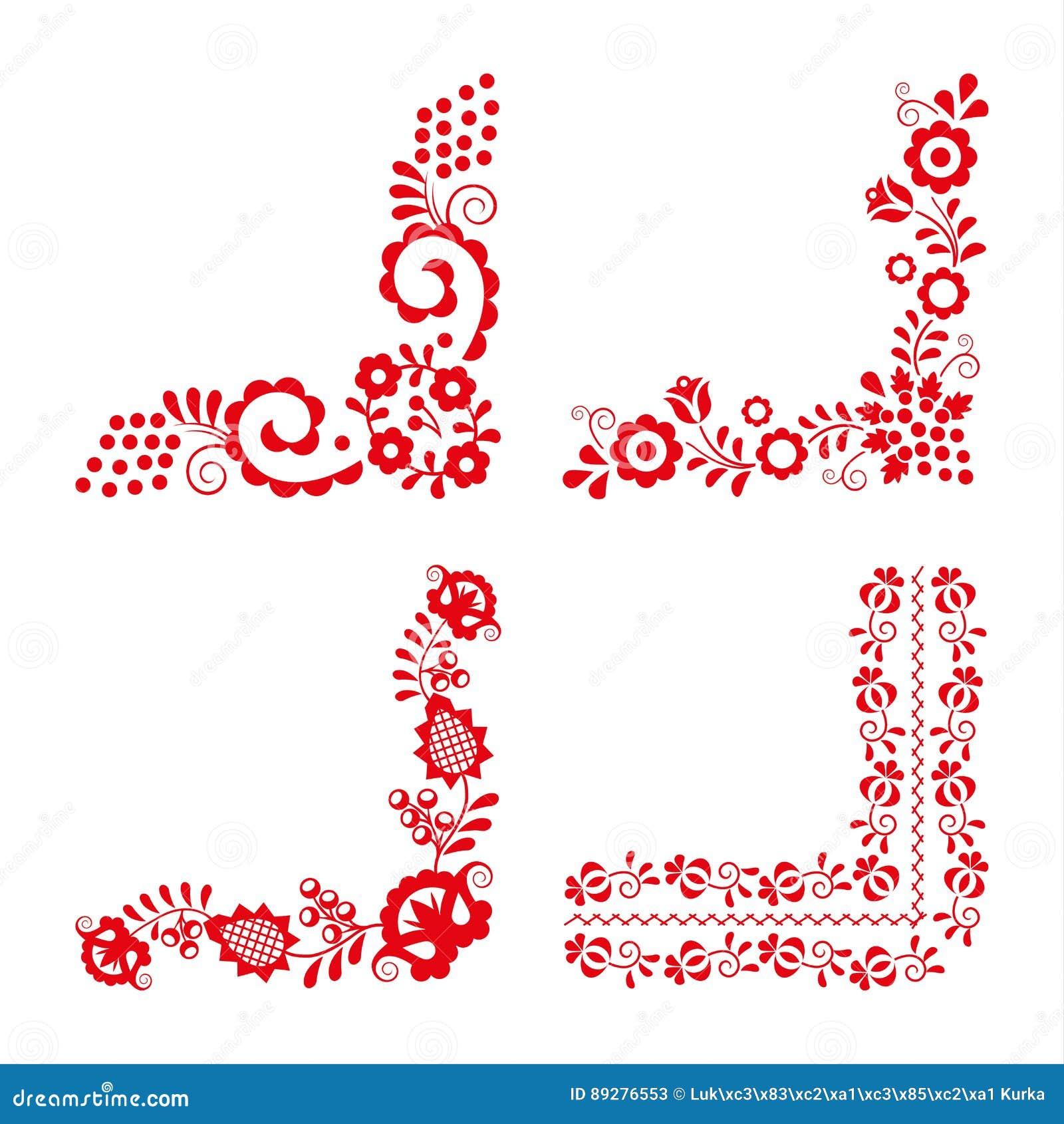 Комплект 4 традиционных фольклорных орнаментов, красная вышивка