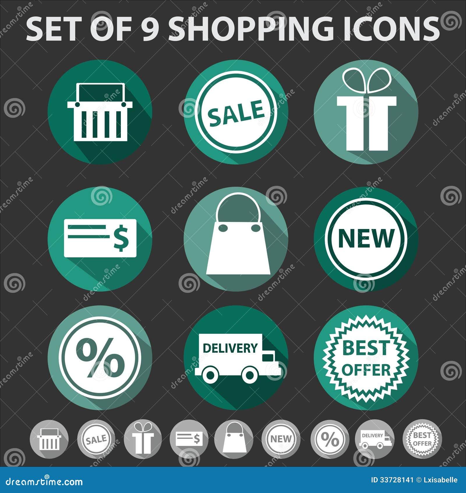 Комплект 9 ультрамодных значков покупок