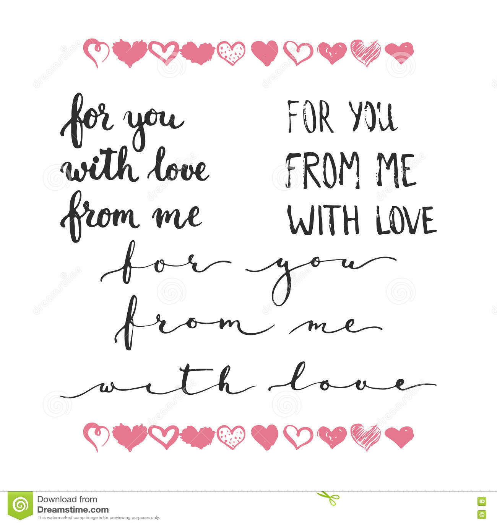 комплект фраз нарисованных рукой о влюбленности для вас от
