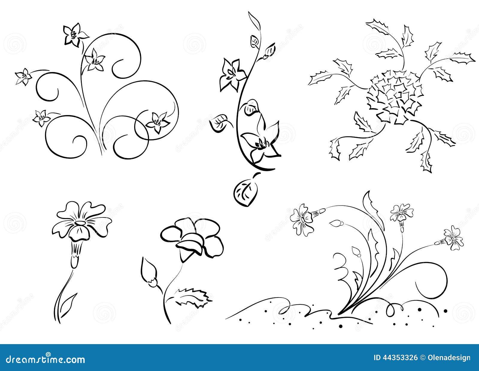 Комплект цветков - элементов - вектор