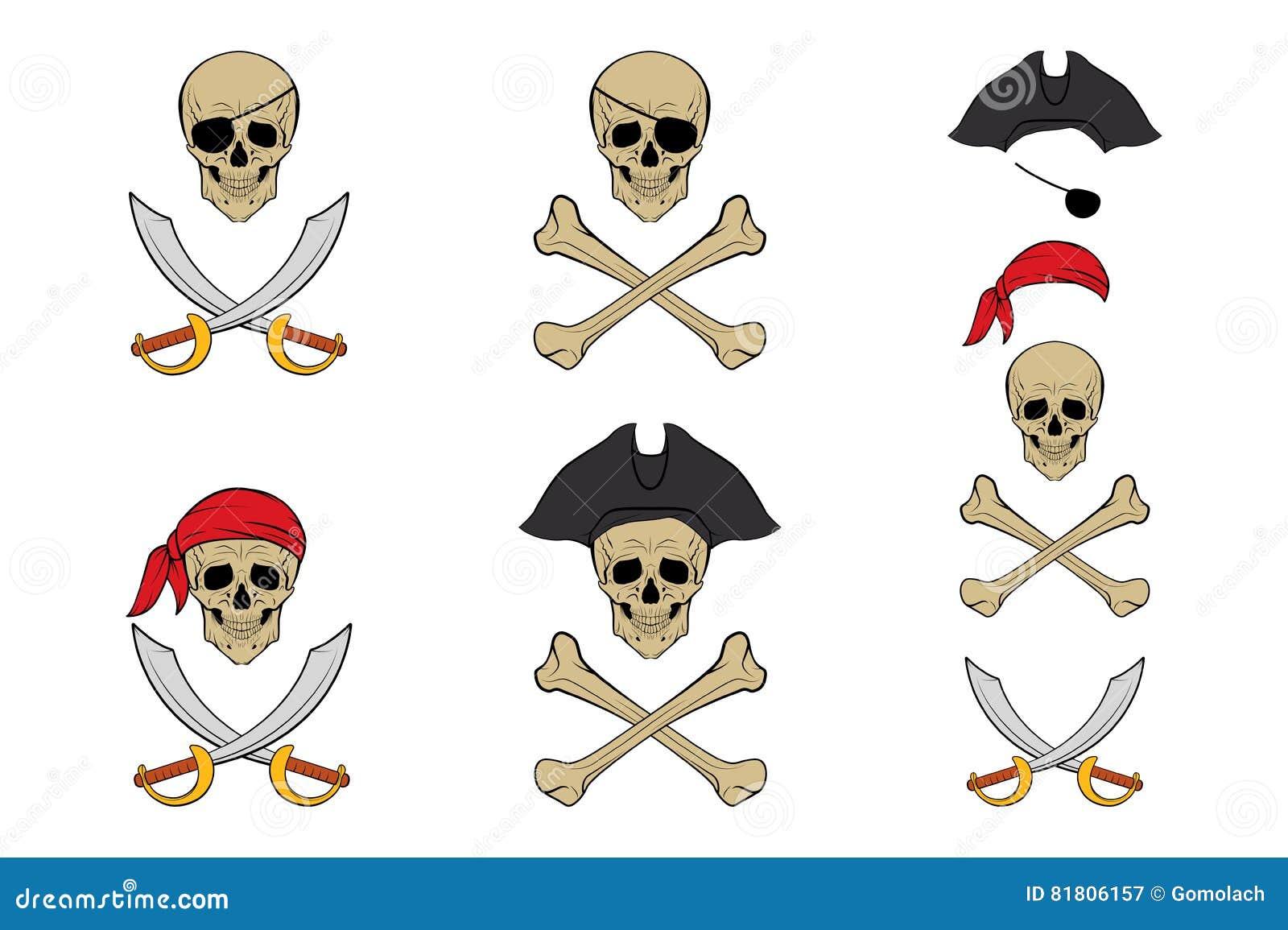 Комплект черепа пирата Шаблоны дизайна вектора